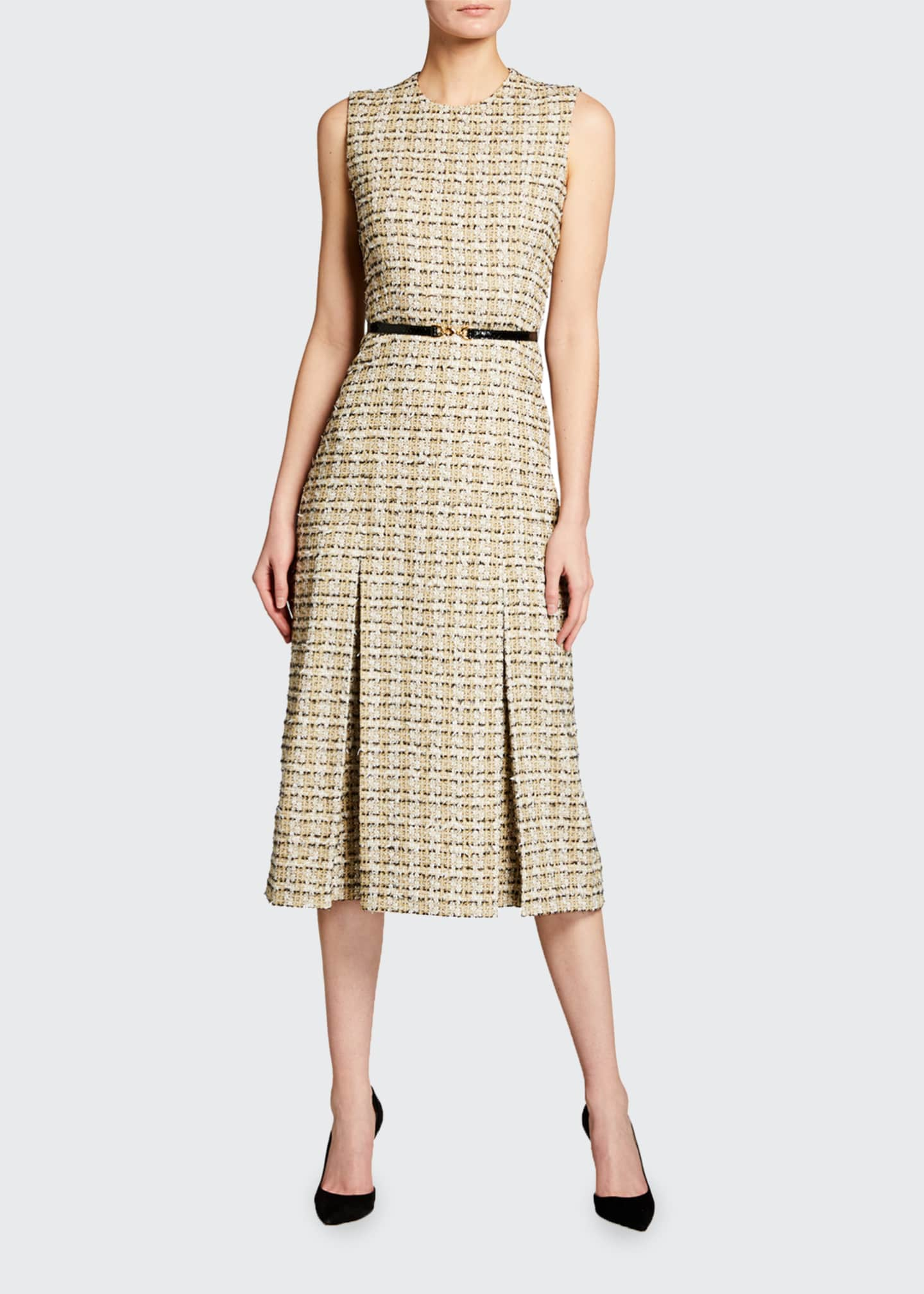 Image 1 of 2: Pleated Cotton Midi Dress