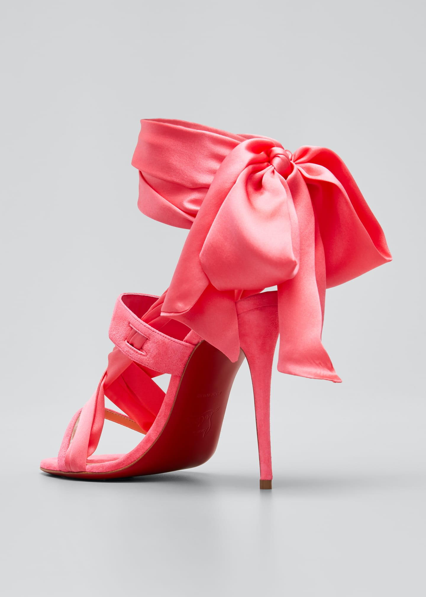 Image 2 of 3: Foulard Cheville Satin/Suede Wrap Red Sole Sandals