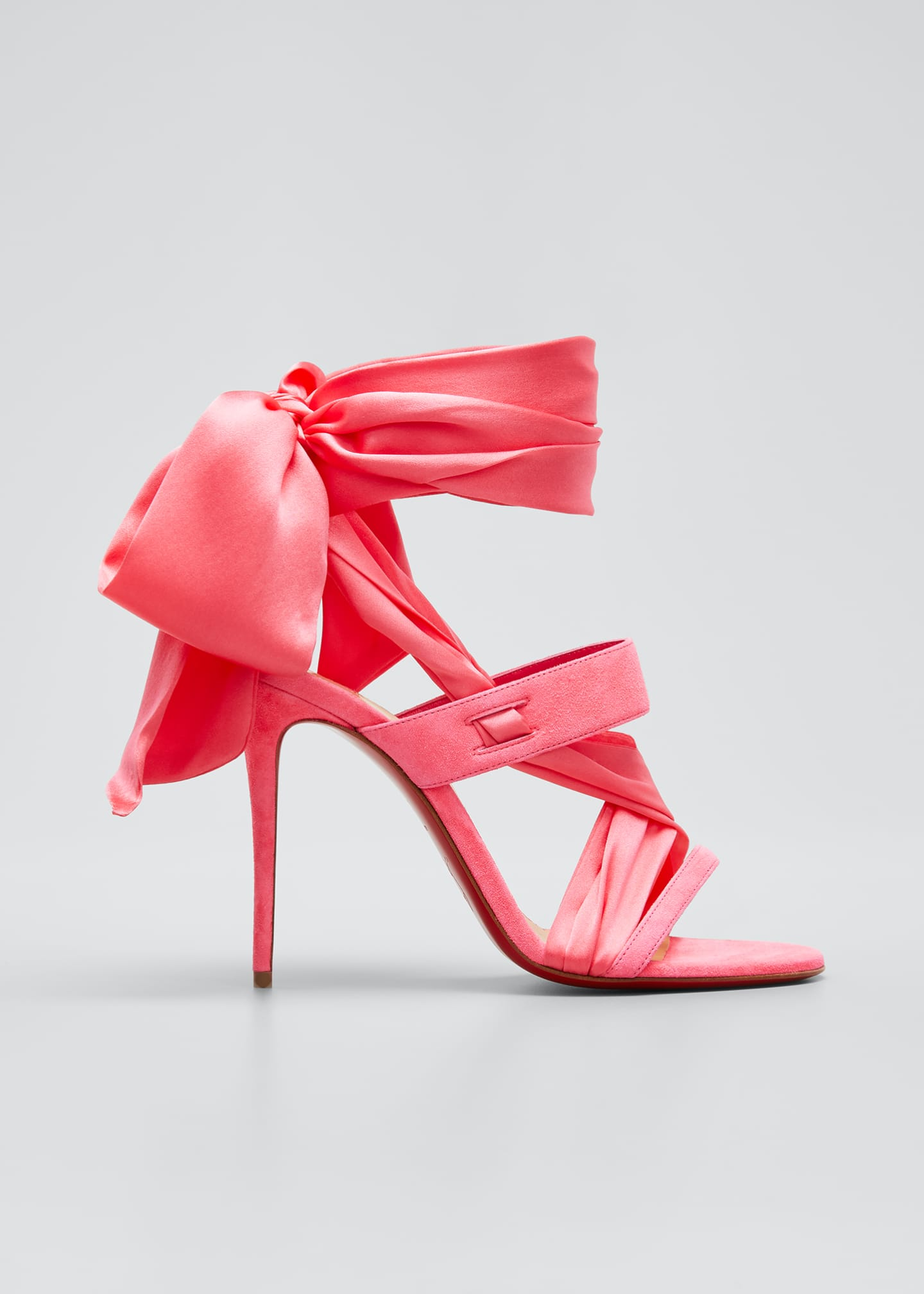 Image 1 of 3: Foulard Cheville Satin/Suede Wrap Red Sole Sandals