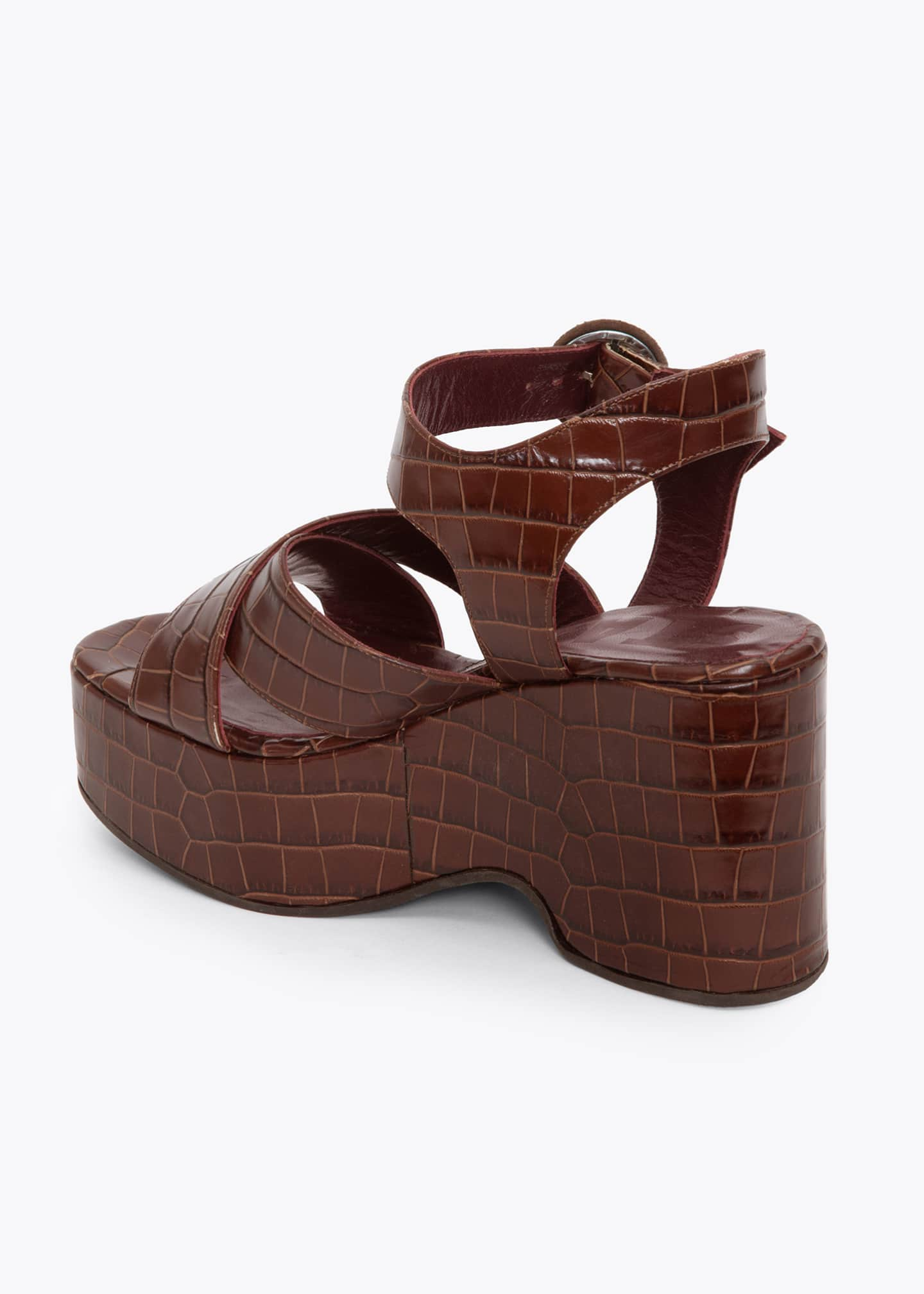 Image 2 of 3: 95mm Wedge Sandals With Ankle Strap