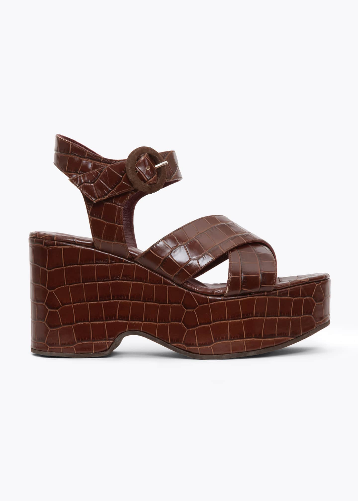 Image 1 of 3: 95mm Wedge Sandals With Ankle Strap
