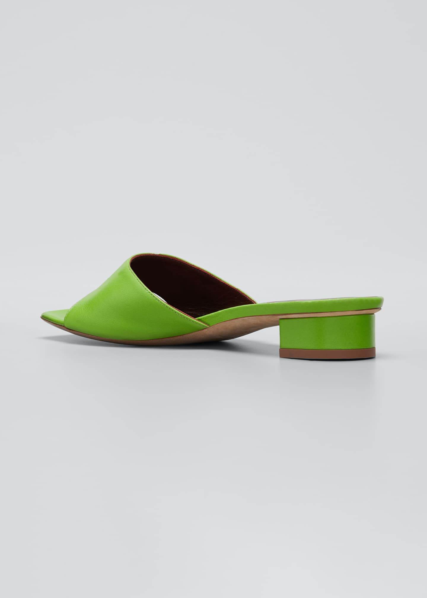 Image 2 of 3: 25mm Asymmetric-Heel Leather Slide Sandals