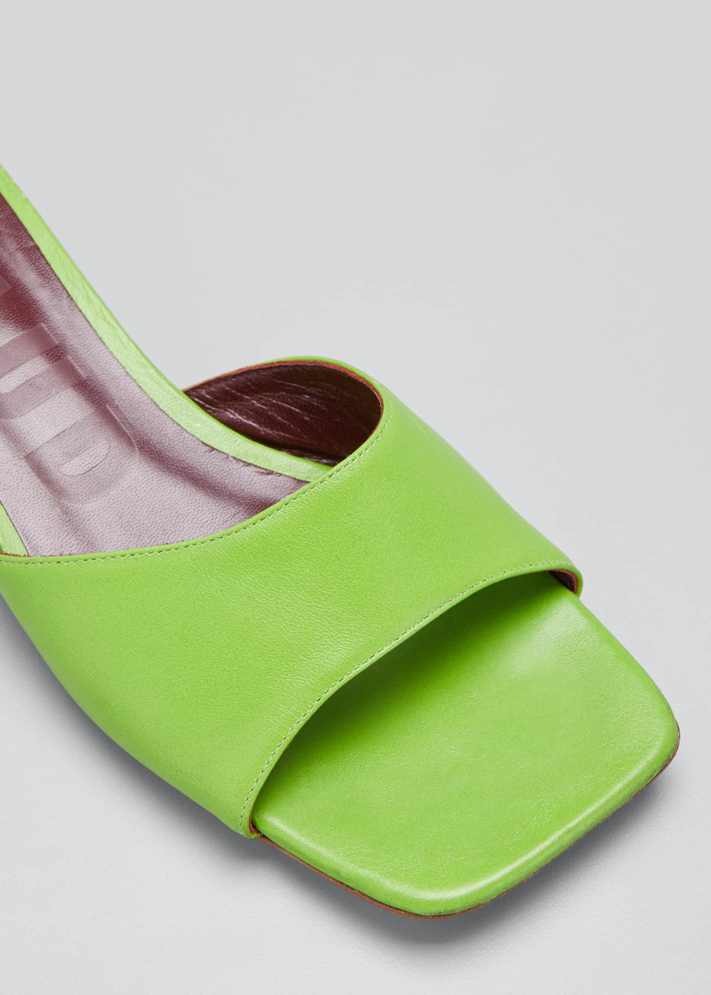 Image 3 of 3: 25mm Asymmetric-Heel Leather Slide Sandals