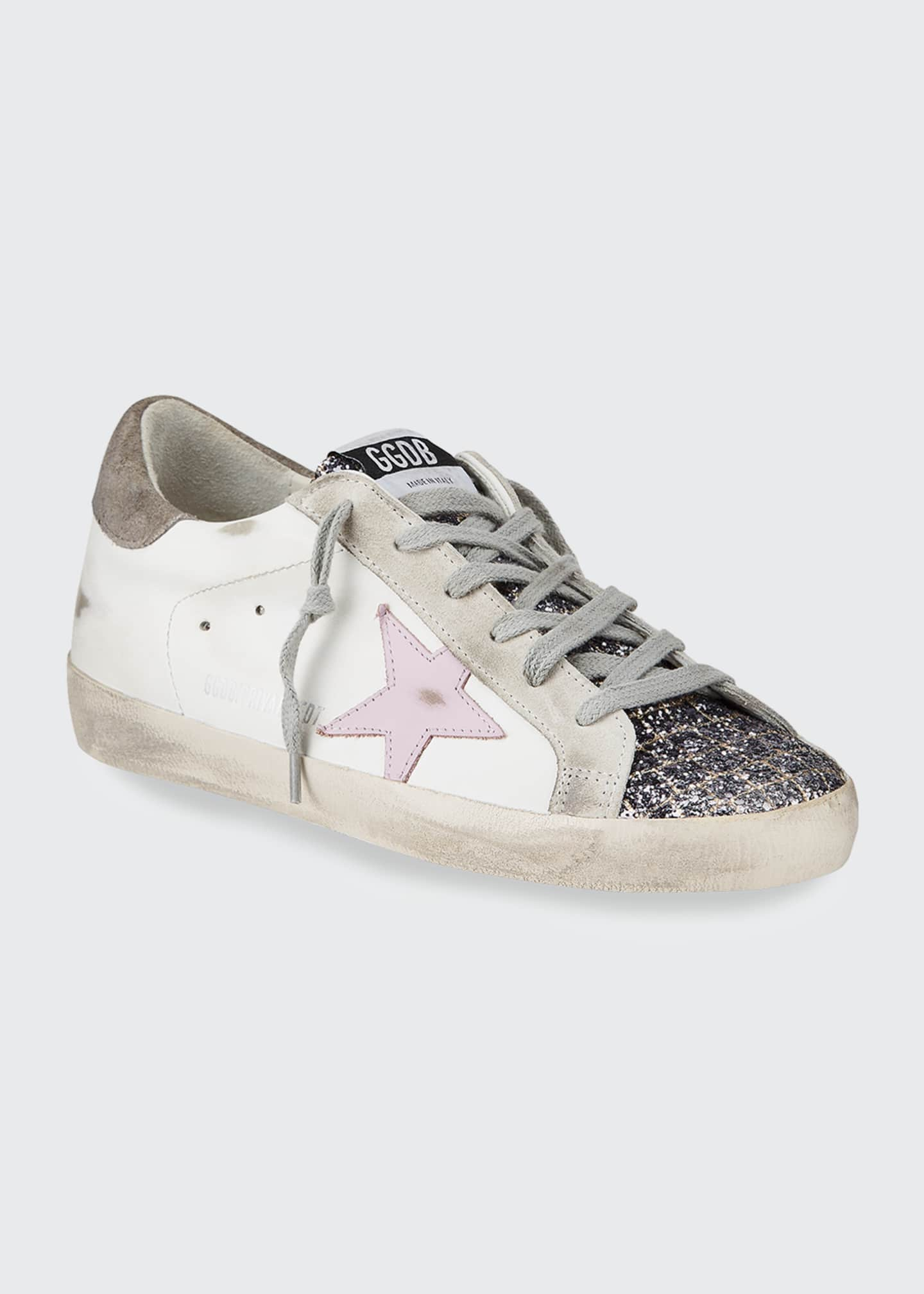 Image 2 of 4: Superstar Mixed Leather Glitter Sneakers
