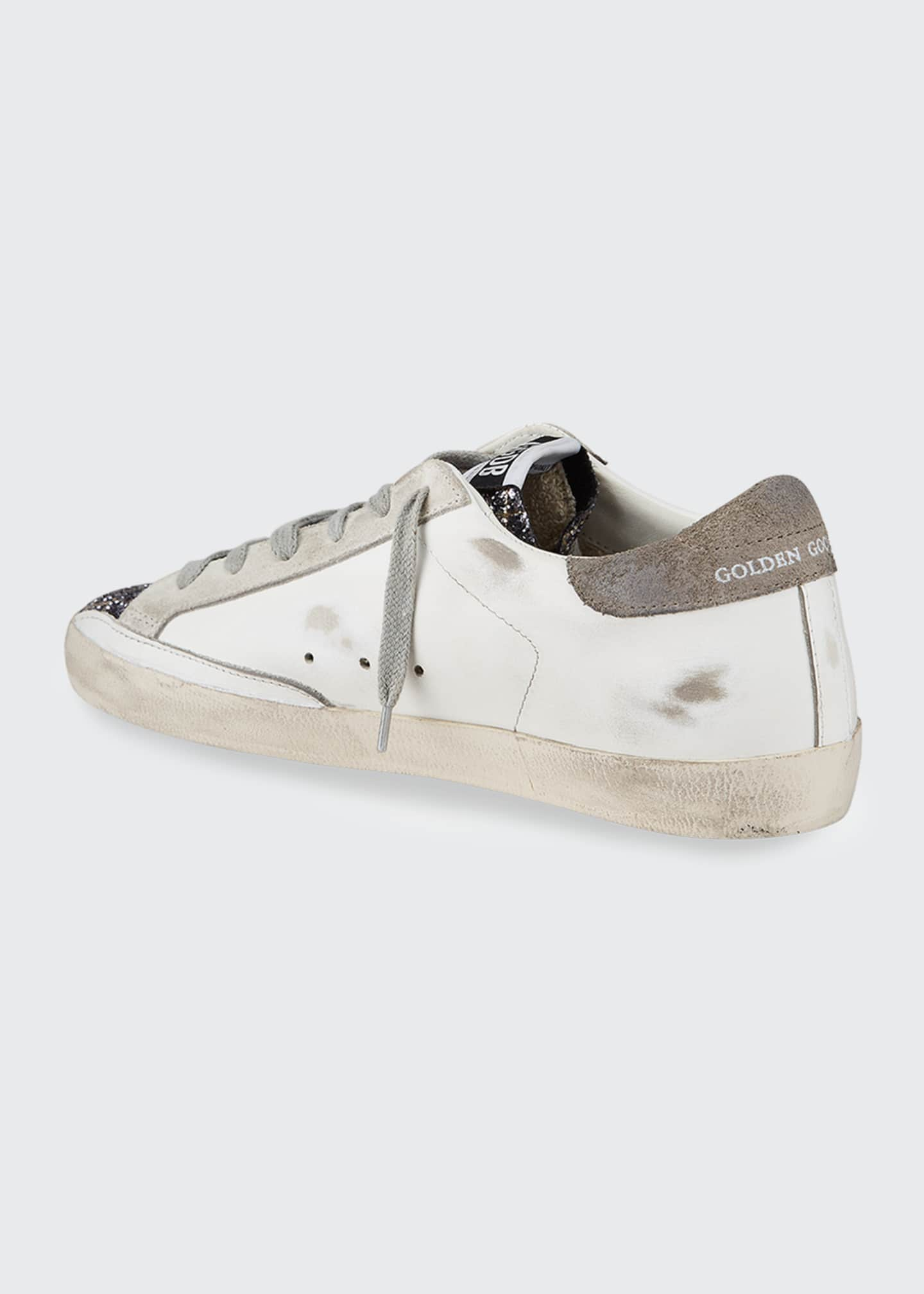 Image 3 of 4: Superstar Mixed Leather Glitter Sneakers