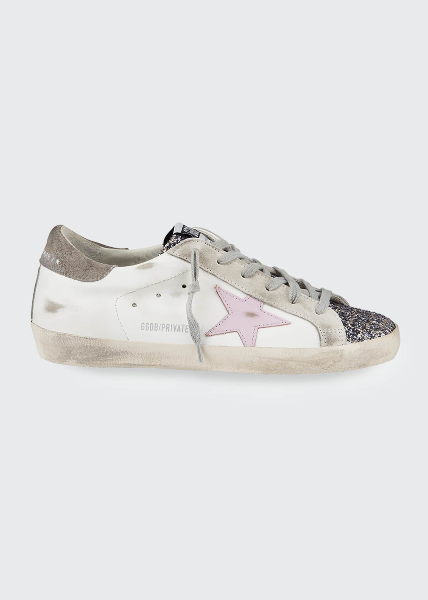 Image 1 of 4: Superstar Mixed Leather Glitter Sneakers