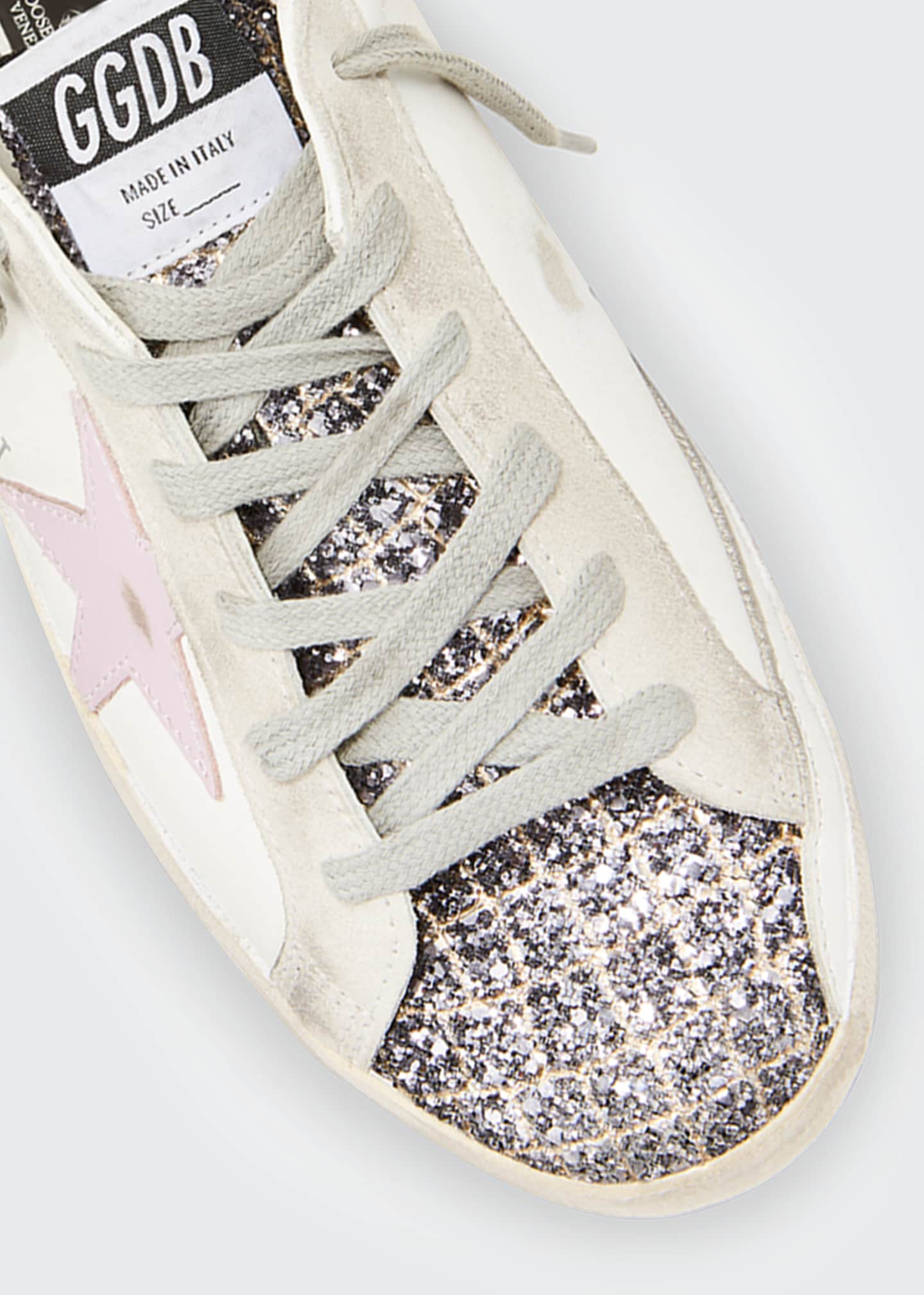 Image 4 of 4: Superstar Mixed Leather Glitter Sneakers