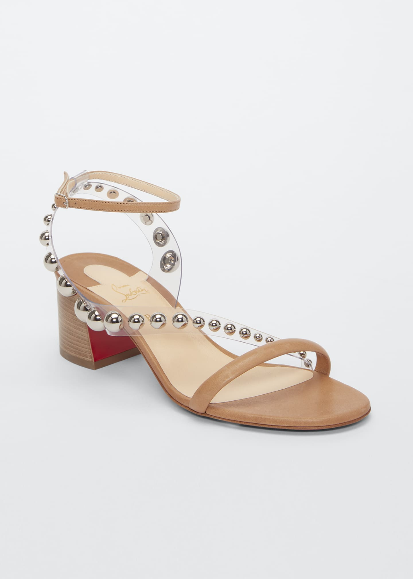 Image 2 of 2: Corinne Studded Vinyl Red Sole Sandals