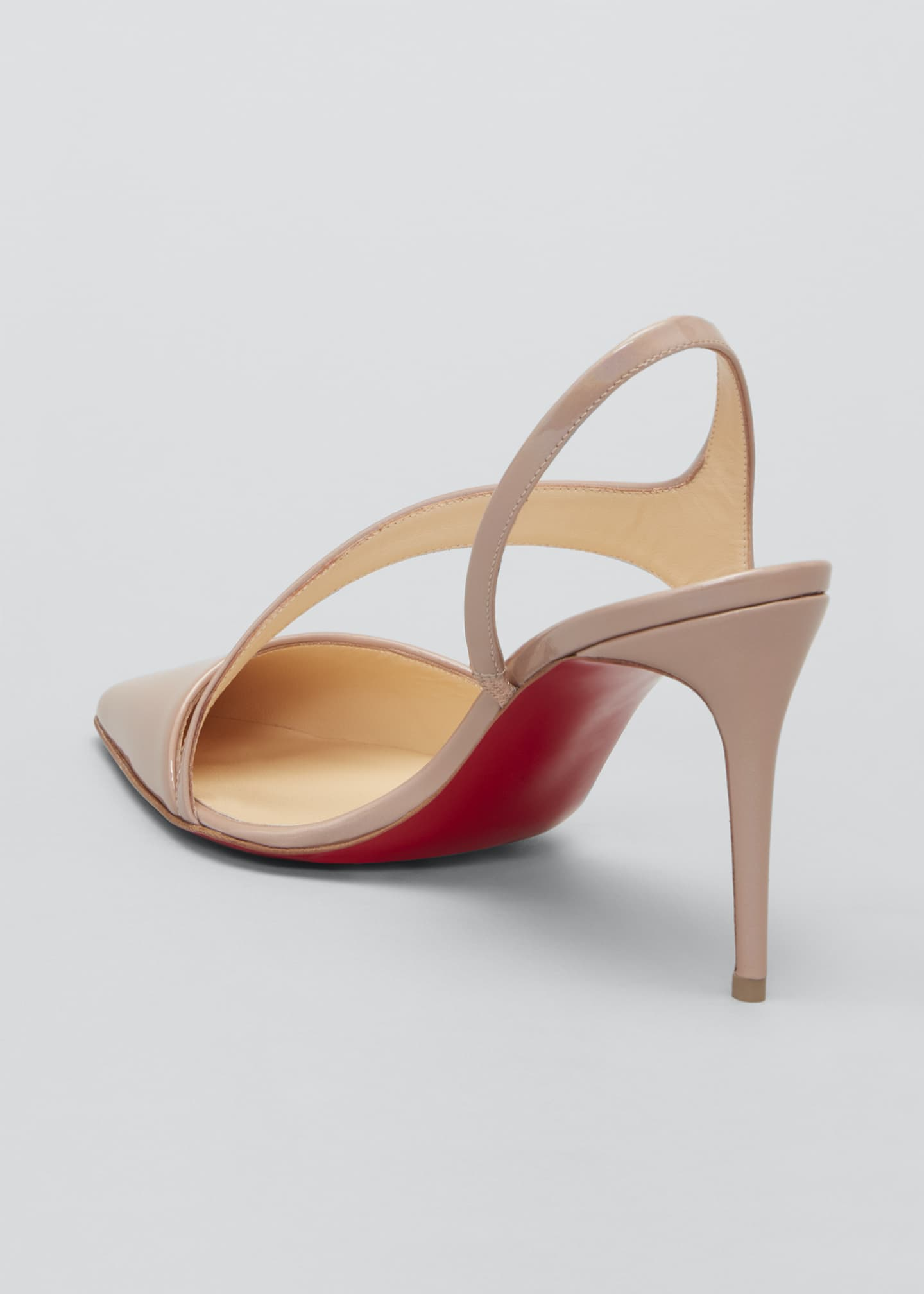 Image 2 of 3: Brandina Patent Red Sole Slingback Pumps