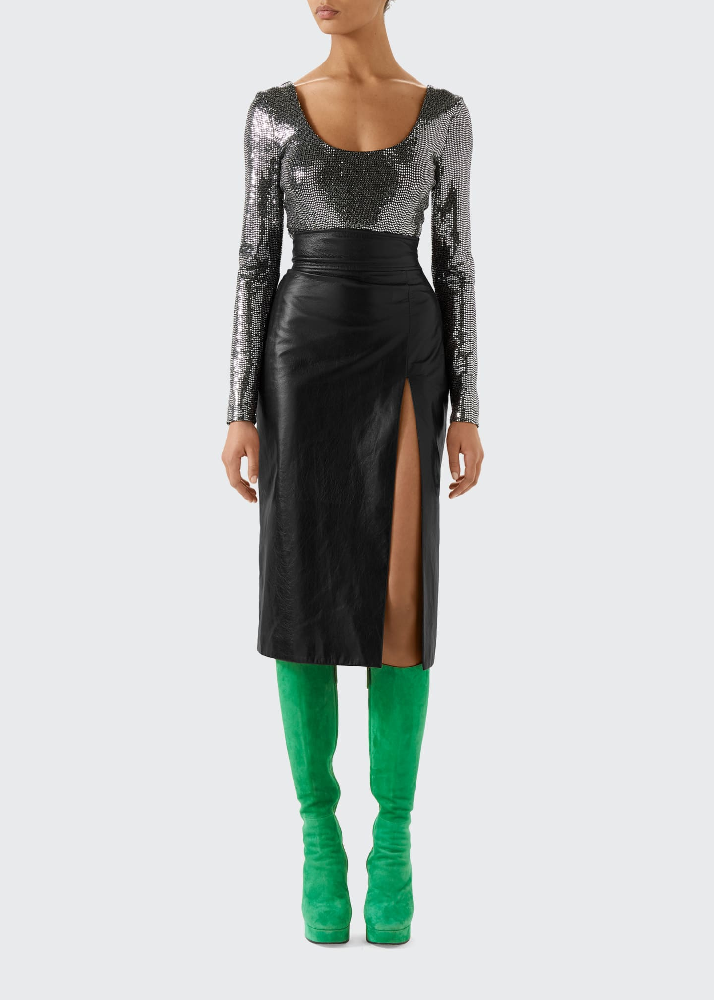 Image 1 of 4: High Waisted Shiny Leather Skirt with Front Slit