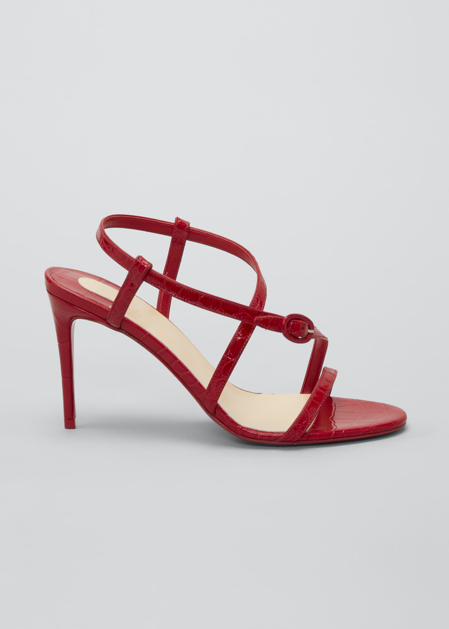 Image 1 of 2: Selima Mock-Croc Stiletto Red Sole Sandals