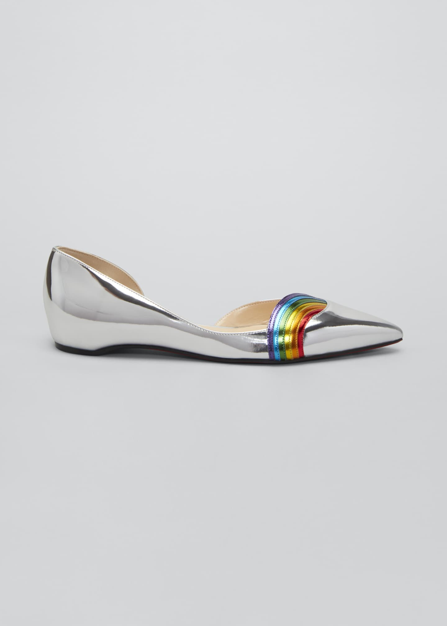 Image 1 of 3: Arkenpump Metallic Rainbow Red Sole Flats