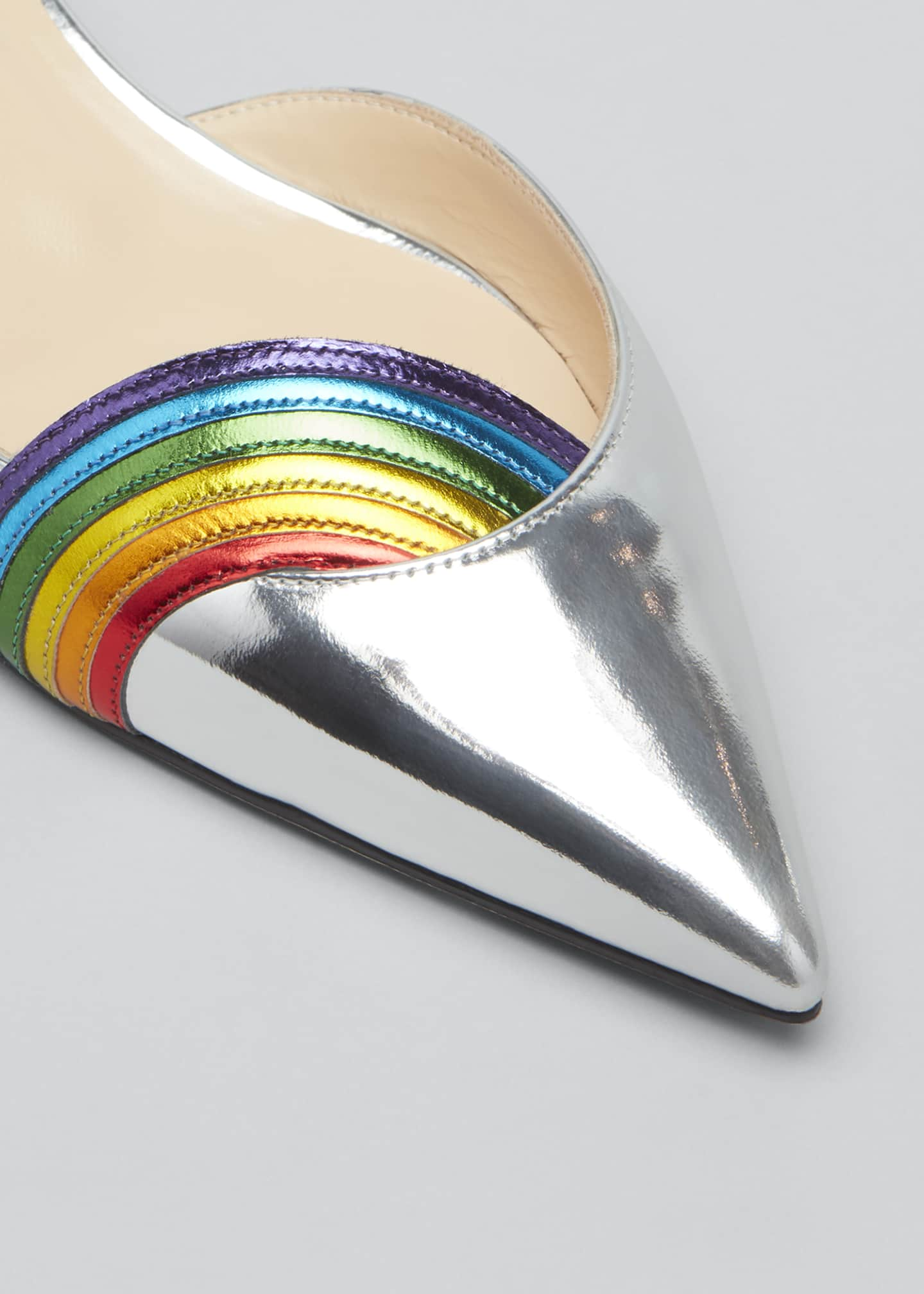 Image 3 of 3: Arkenpump Metallic Rainbow Red Sole Flats