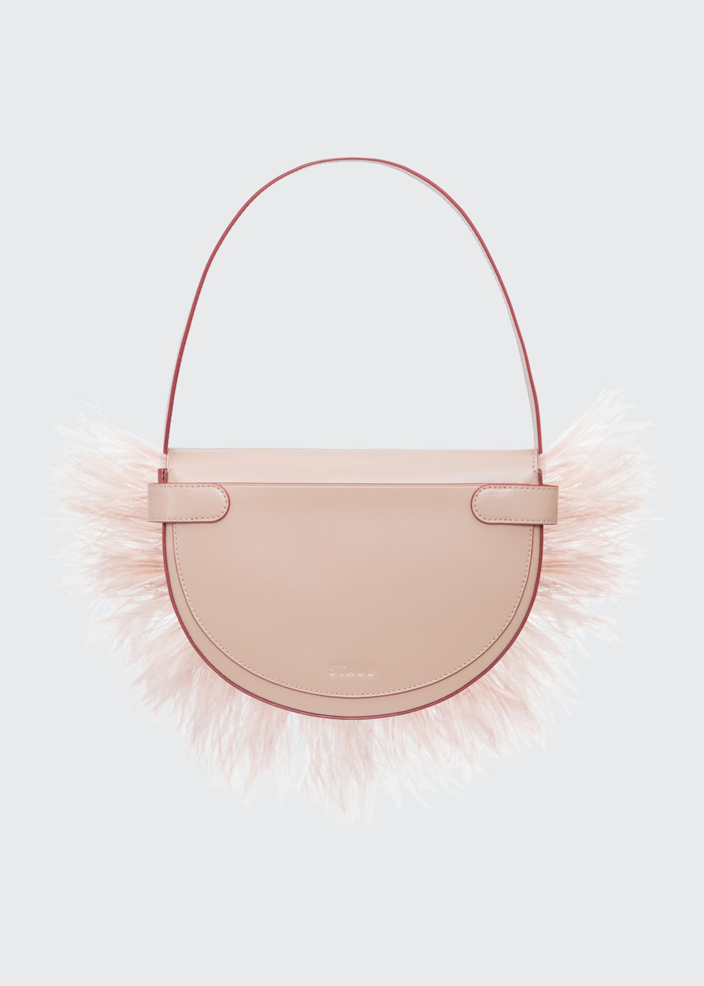 Image 3 of 5: Amal Ostrich Feathered Leather Shoulder Bag