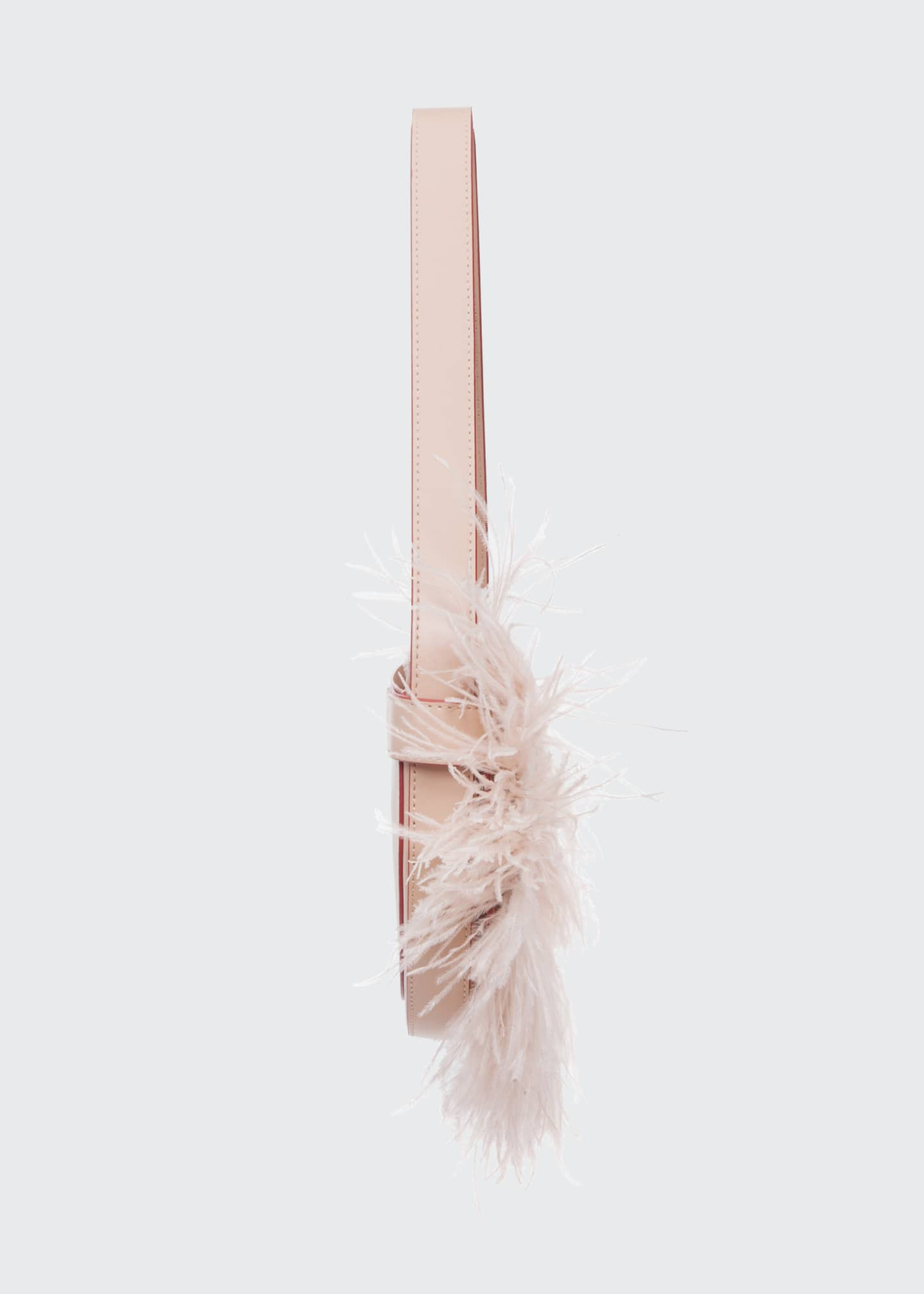 Image 4 of 5: Amal Ostrich Feathered Leather Shoulder Bag