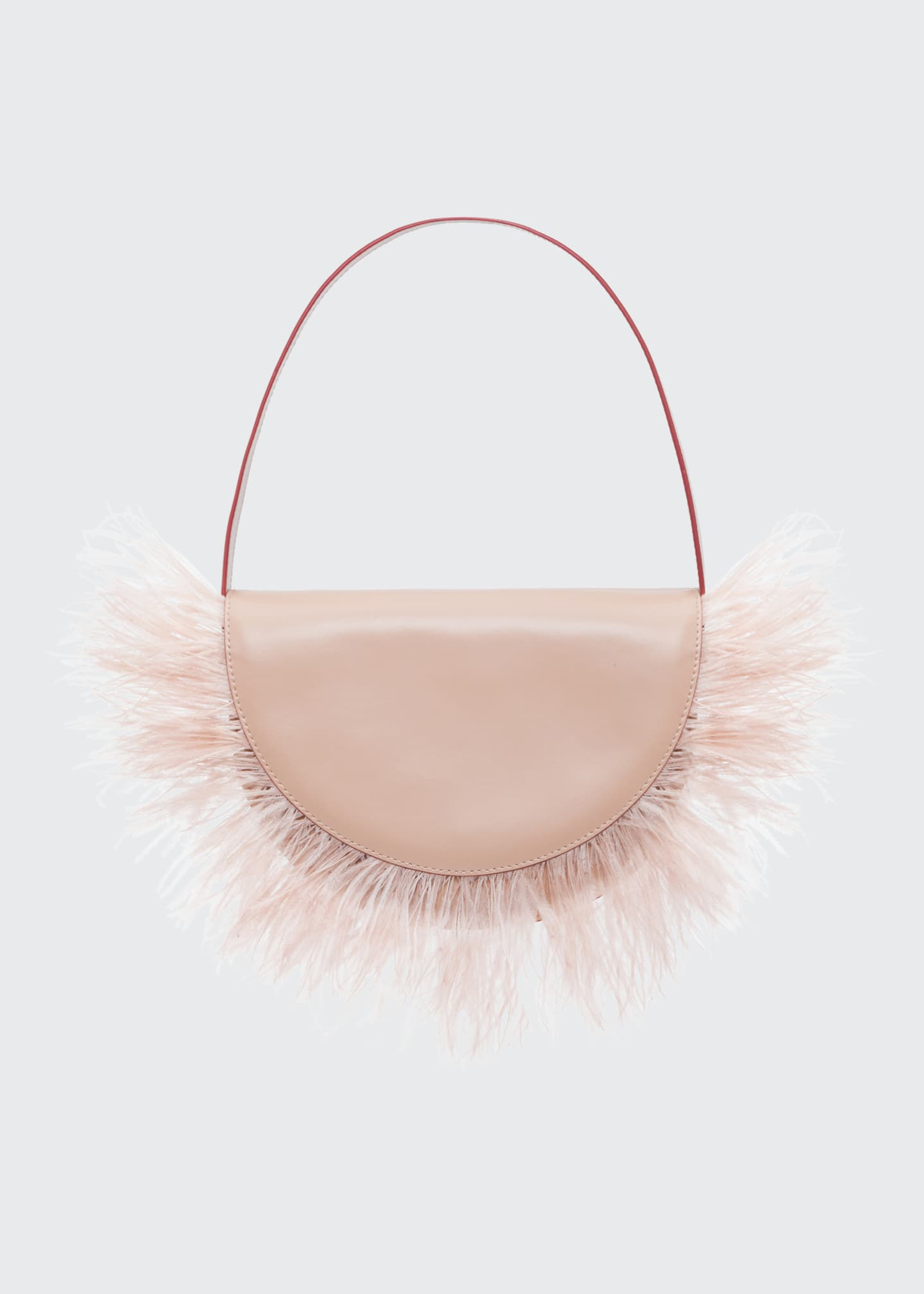 Amal Ostrich Feathered Leather Shoulder Bag