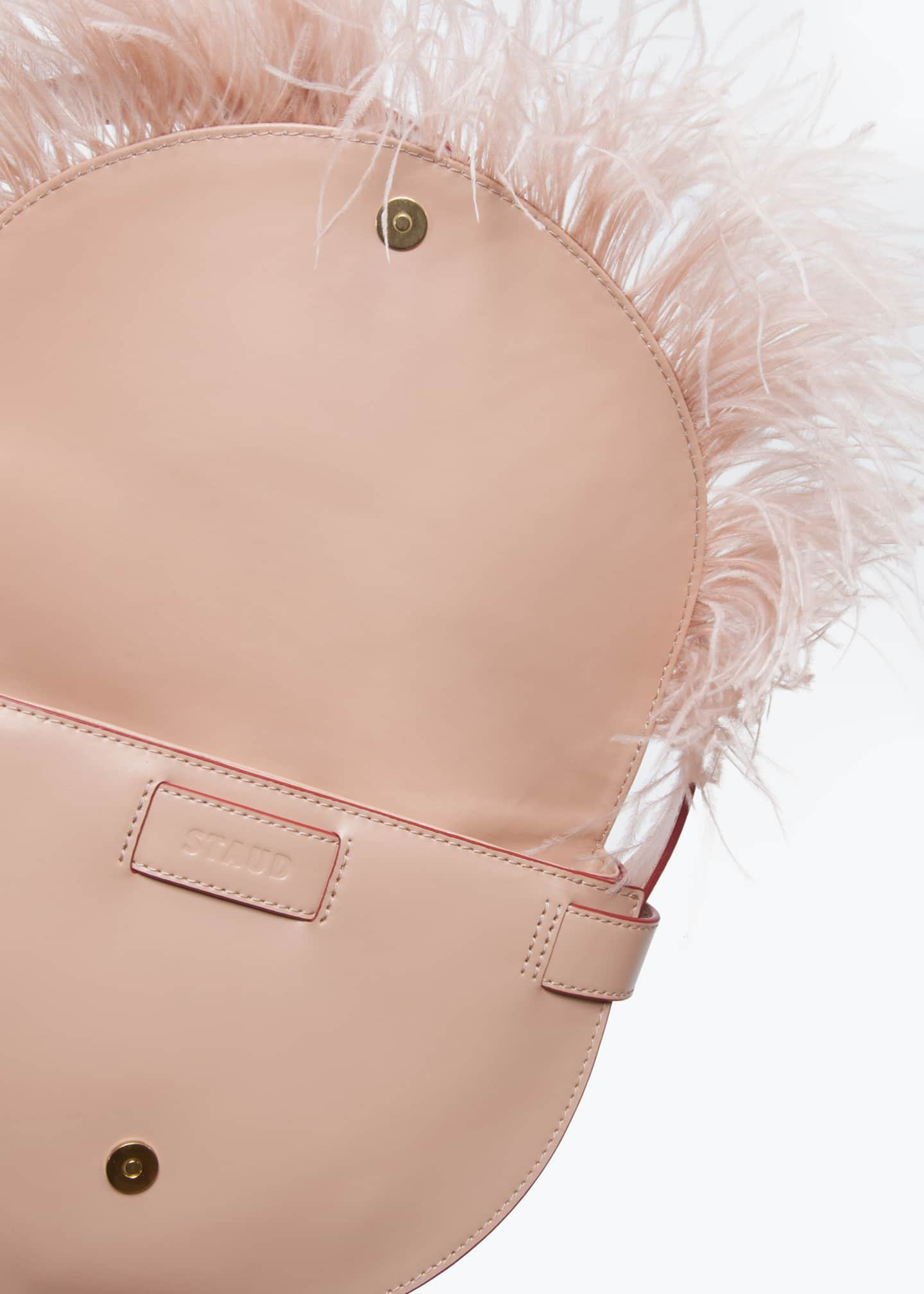 Image 5 of 5: Amal Ostrich Feathered Leather Shoulder Bag