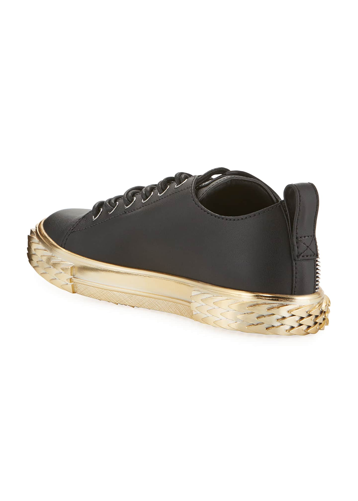 Image 4 of 4: Men's Blabber Leather Sneakers w/ Metallic Sole