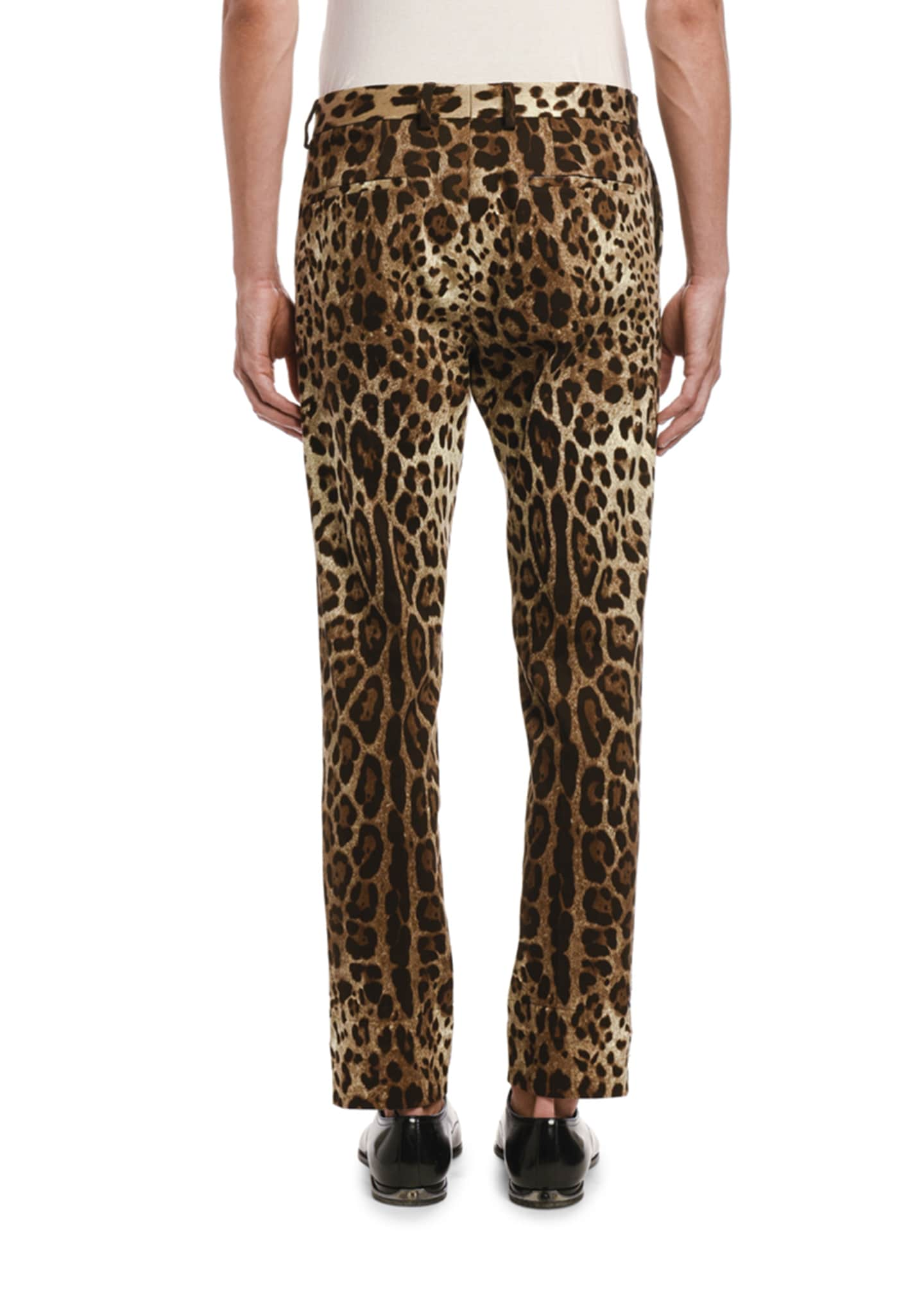 Image 2 of 2: Men's Cropped Leopard-Print Pants