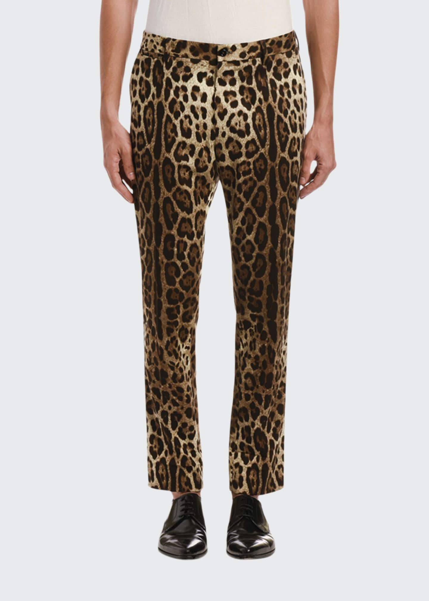 Image 1 of 2: Men's Cropped Leopard-Print Pants