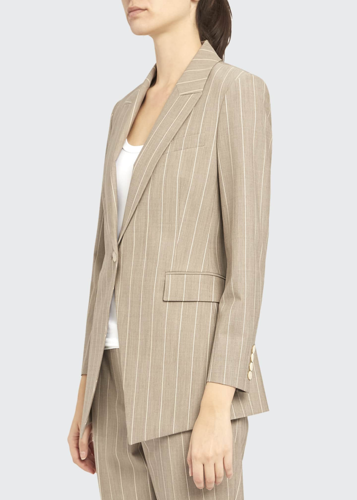 Image 4 of 4: Etiennette Traceable Wool Striped Blazer