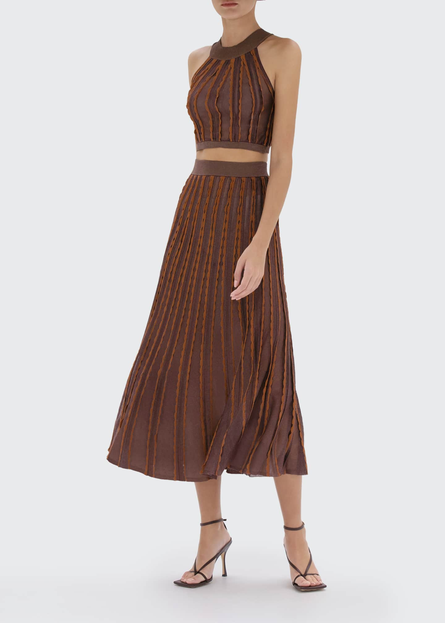 Image 1 of 2: Zea Scallop-Trim Midi Skirt