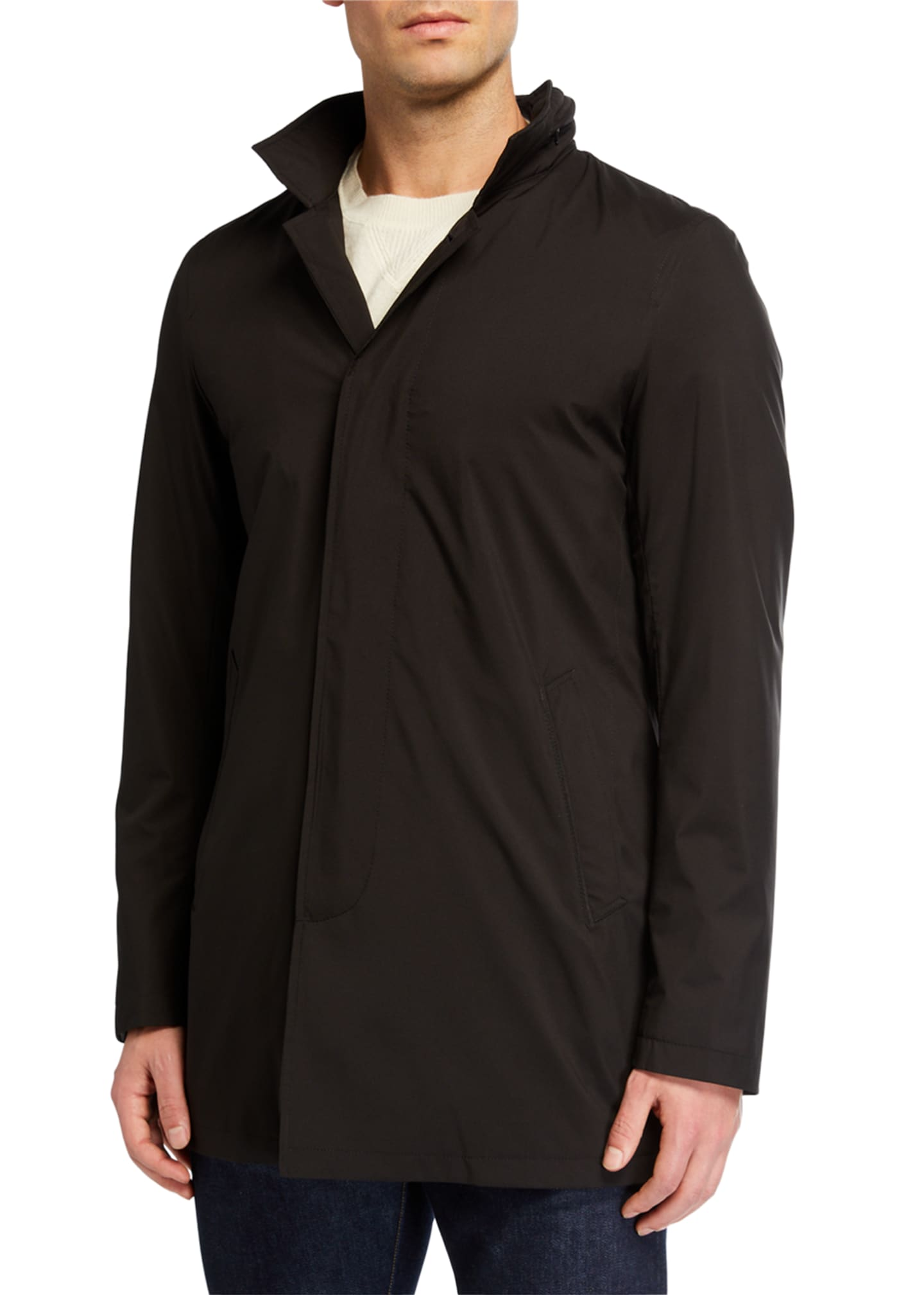 Image 2 of 3: Men's Technical Stretch Raincoat, Black
