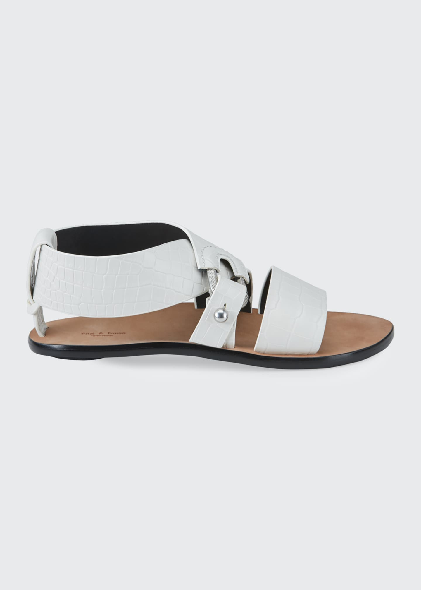 Image 1 of 4: August Mock-Croc Flat Sandals