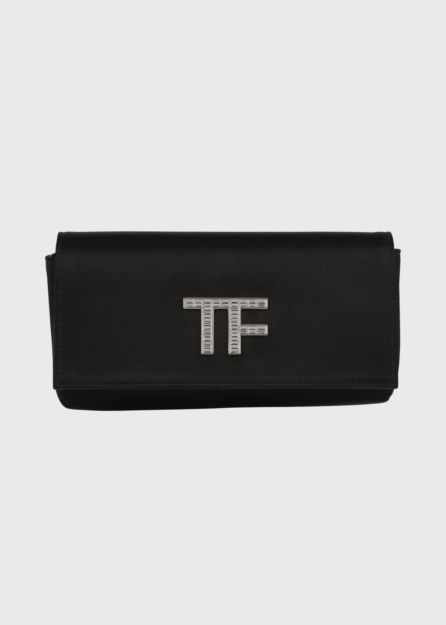 Image 1 of 2: Satin Evening Clutch Bag with Pave TF Logo