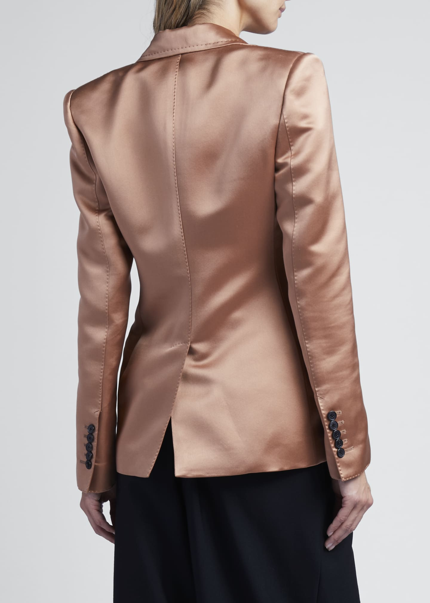 Image 2 of 3: 2-Button Jacket In Double Silk Duchesse
