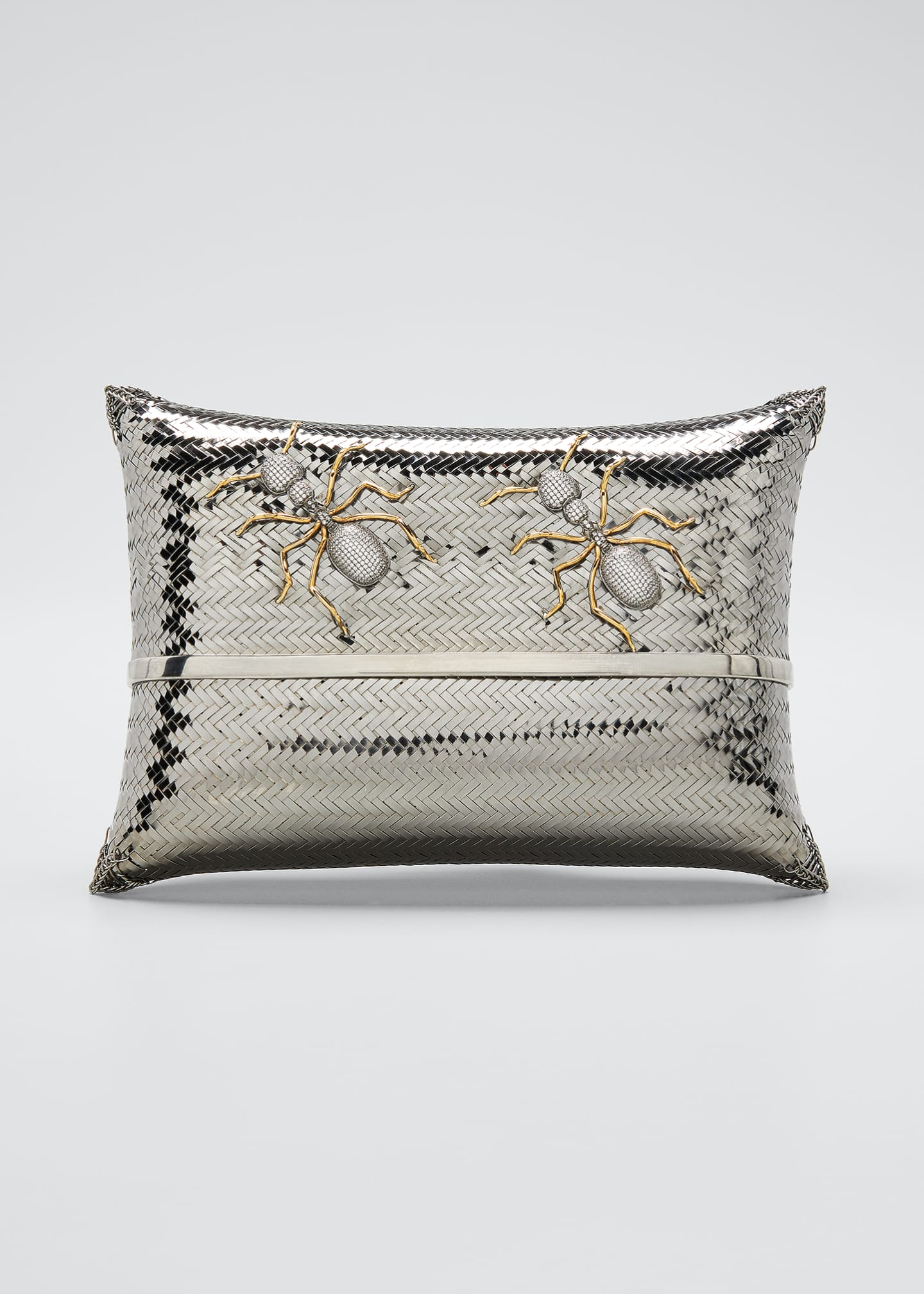 Image 1 of 5: Dali Ants Metallic Minaudiere Clutch
