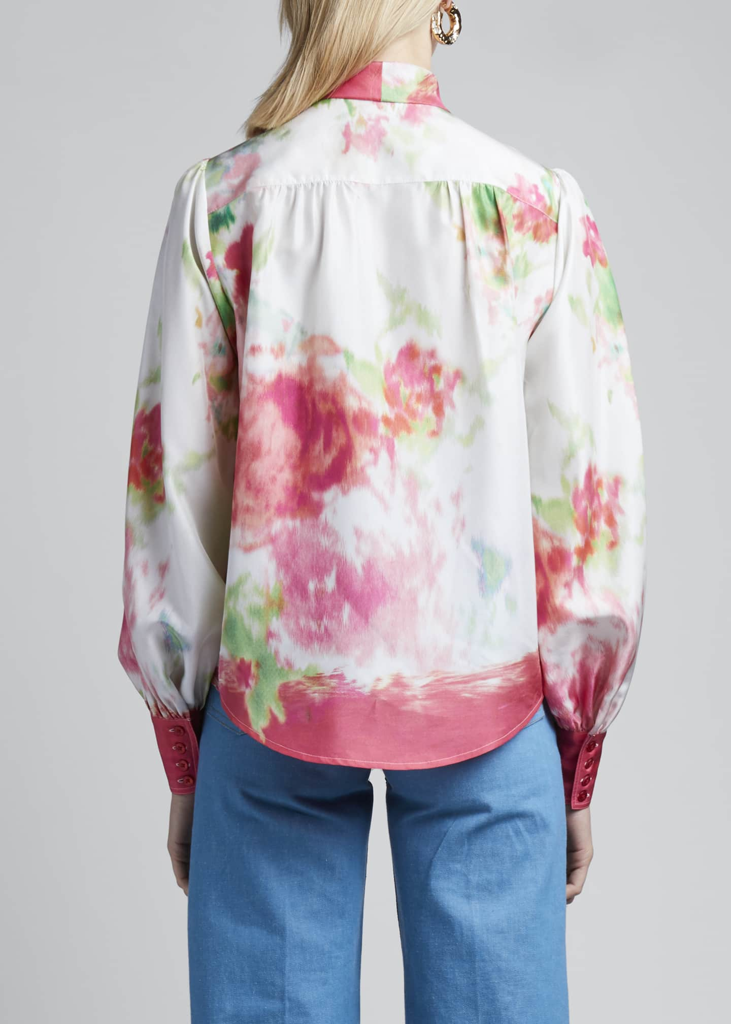 Image 2 of 3: Watercolor Silk Bow-Neck Blouse