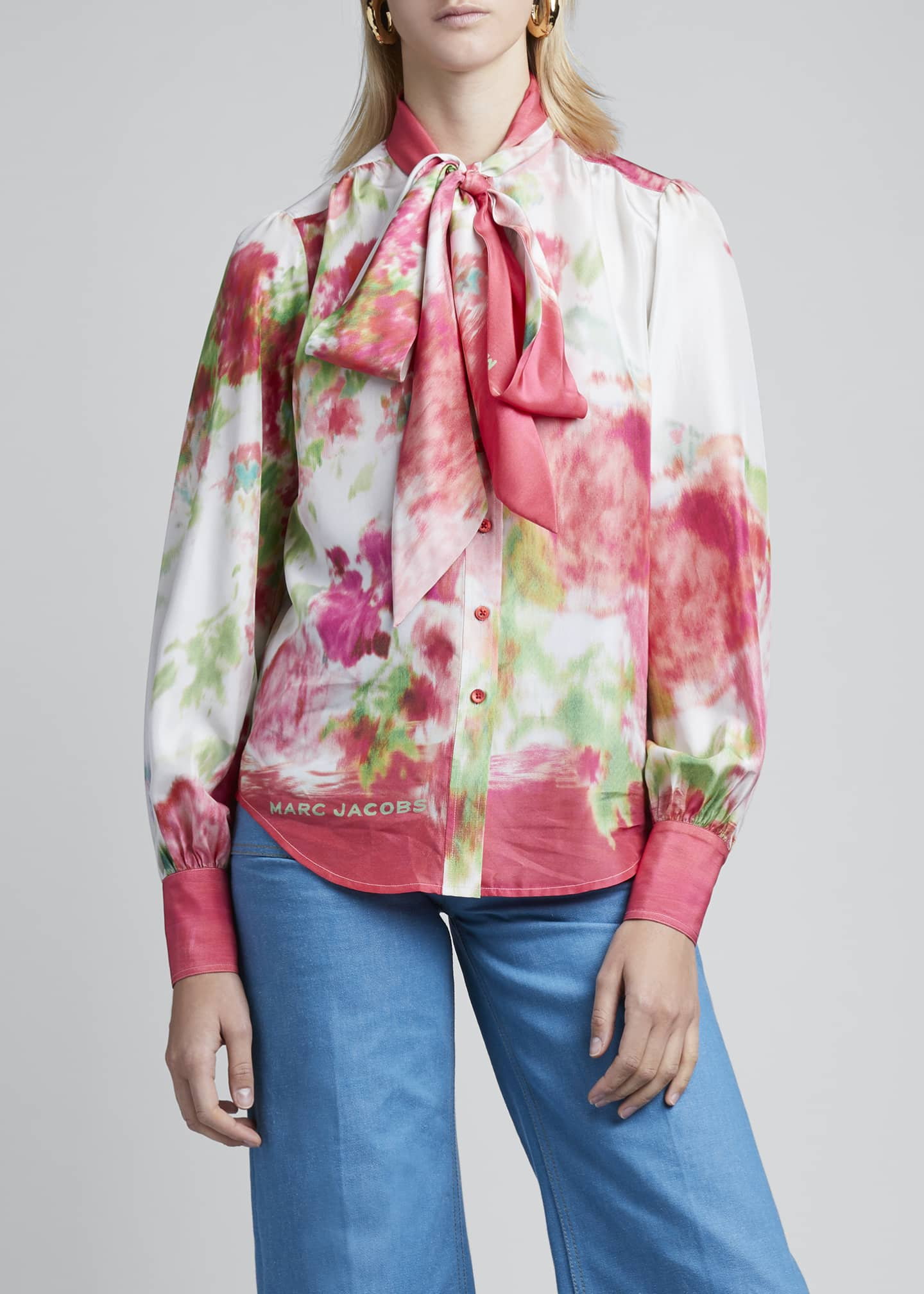Image 3 of 3: Watercolor Silk Bow-Neck Blouse