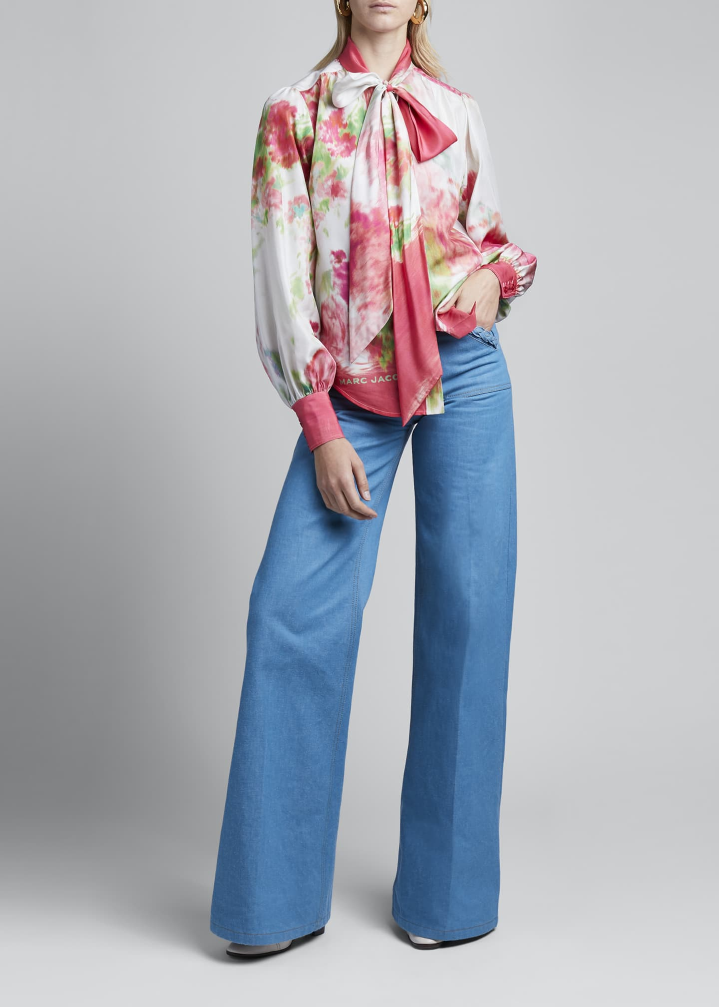 Image 1 of 3: Watercolor Silk Bow-Neck Blouse