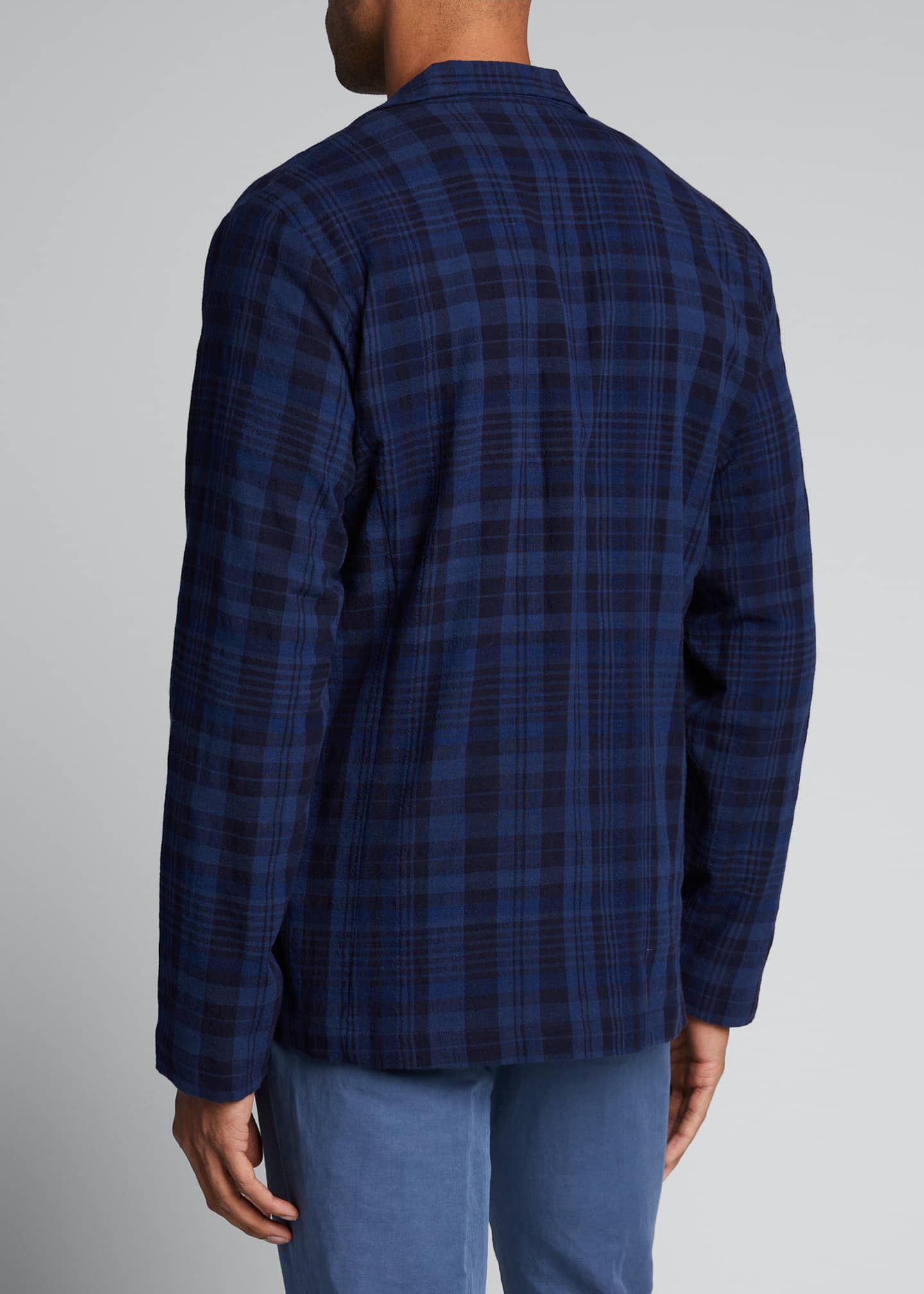 Image 2 of 5: Men's Unconstructed Plaid Two-Button Sport Jacket