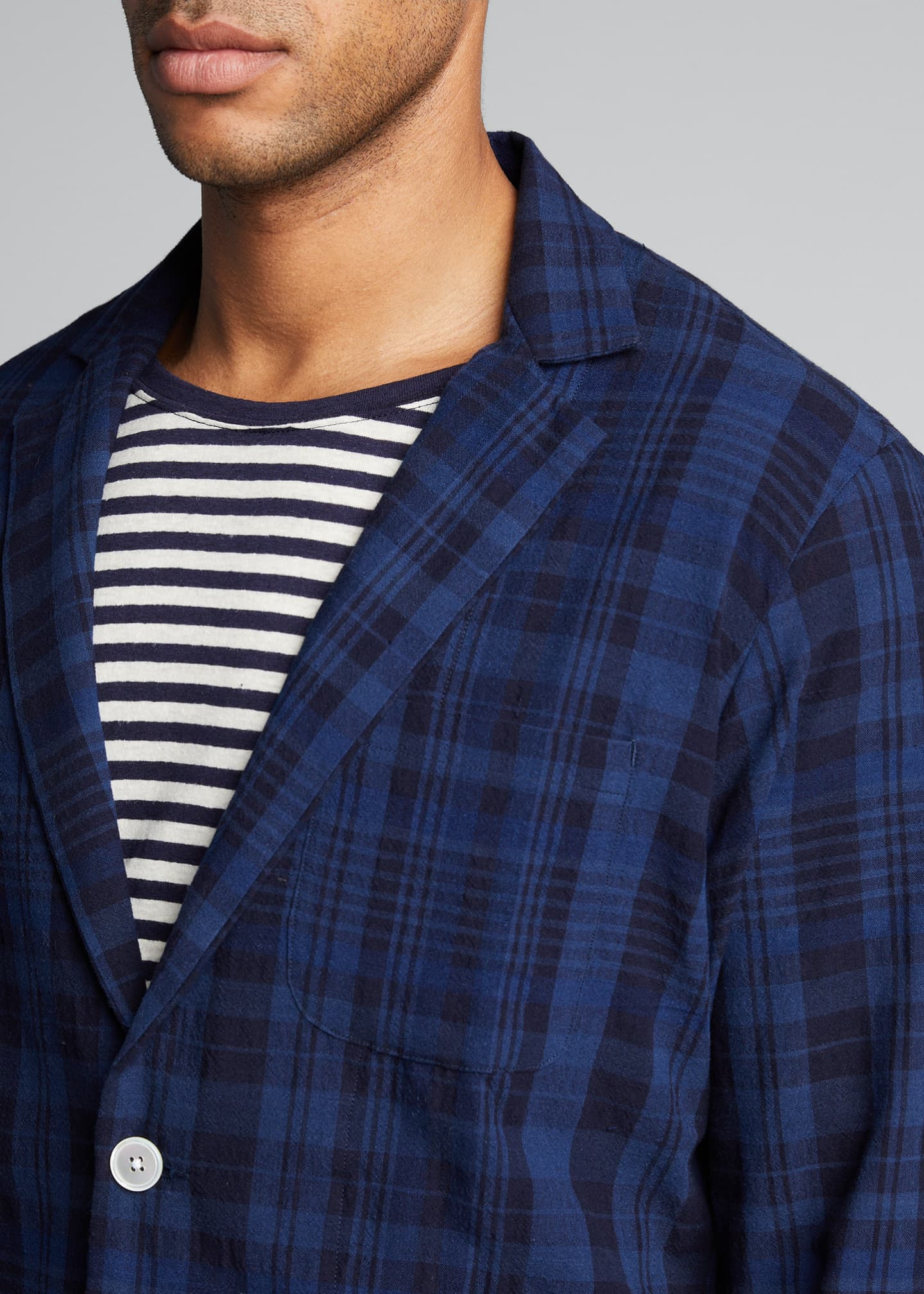 Image 4 of 5: Men's Unconstructed Plaid Two-Button Sport Jacket