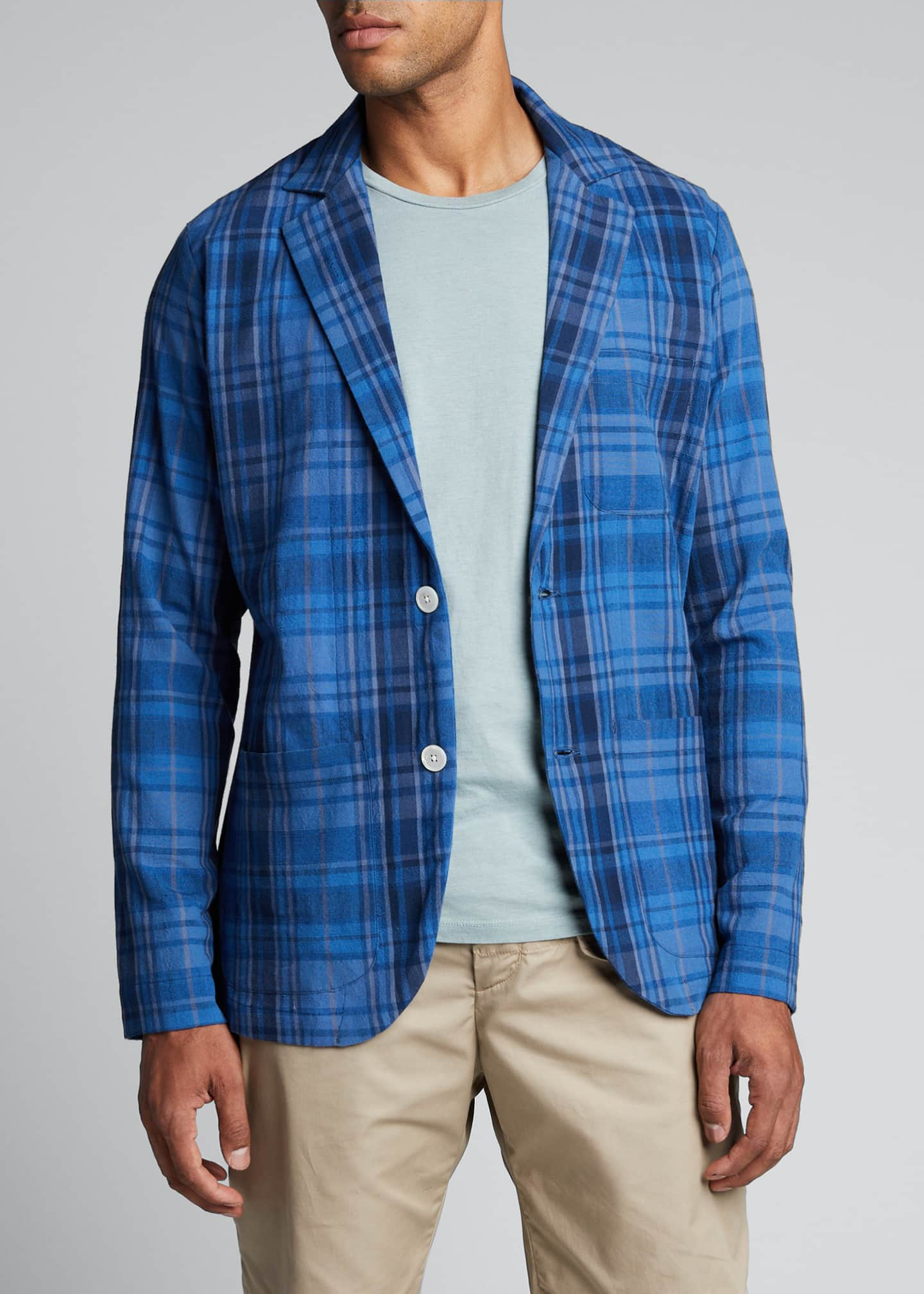 Image 3 of 5: Men's Unconstructed Plaid Two-Button Sport Jacket