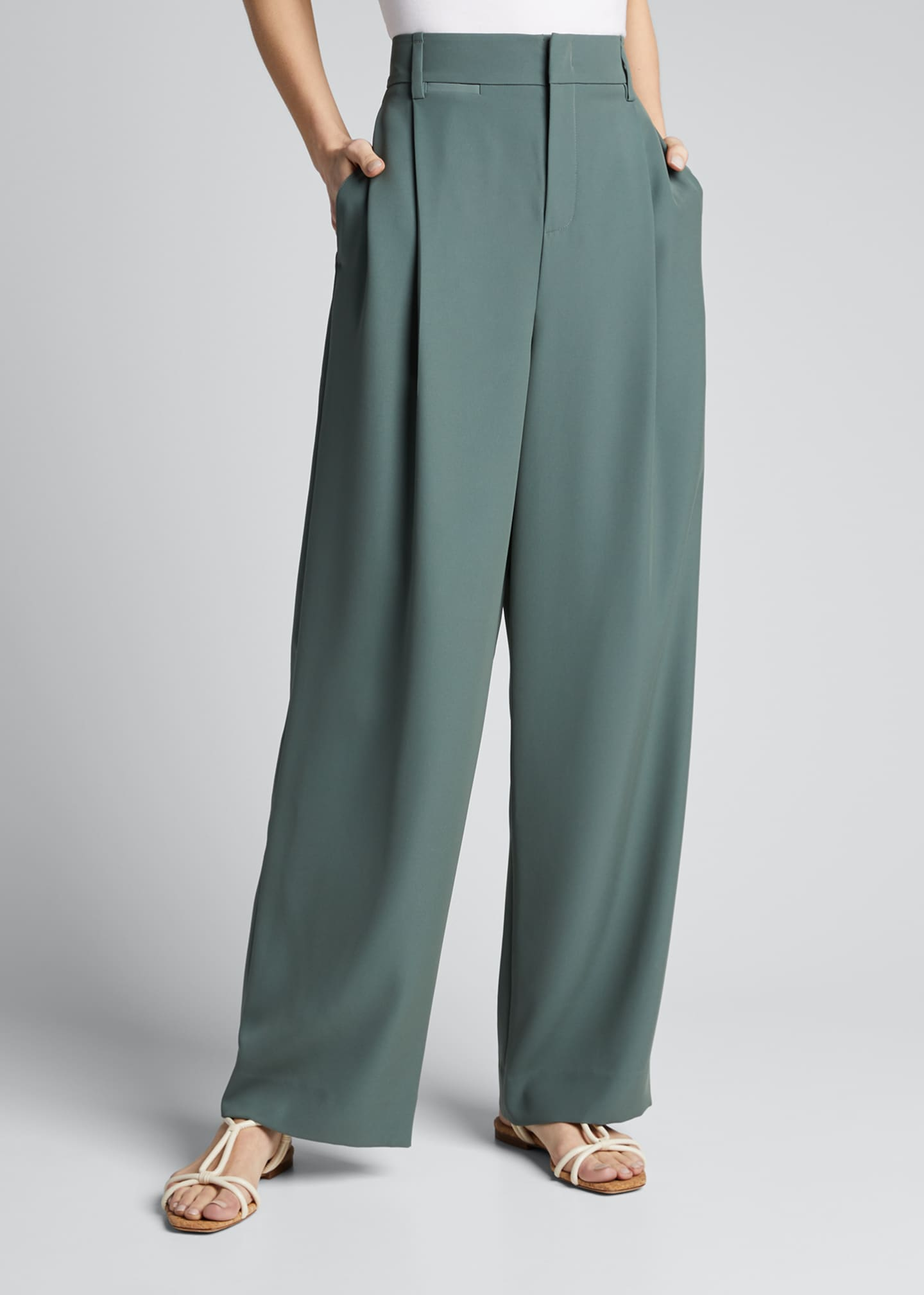 Image 3 of 5: Wide-Leg Pleated Trousers