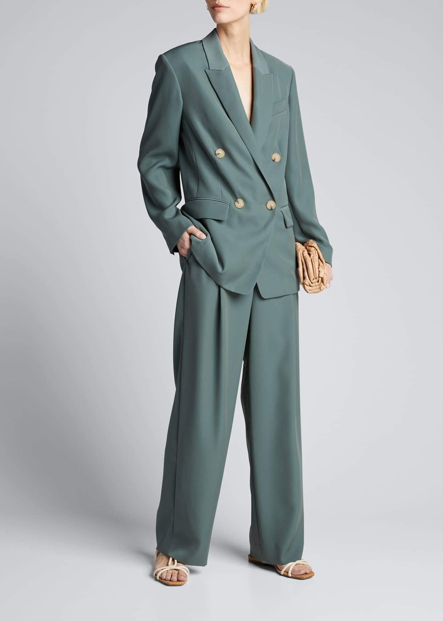 Image 1 of 5: Wide-Leg Pleated Trousers