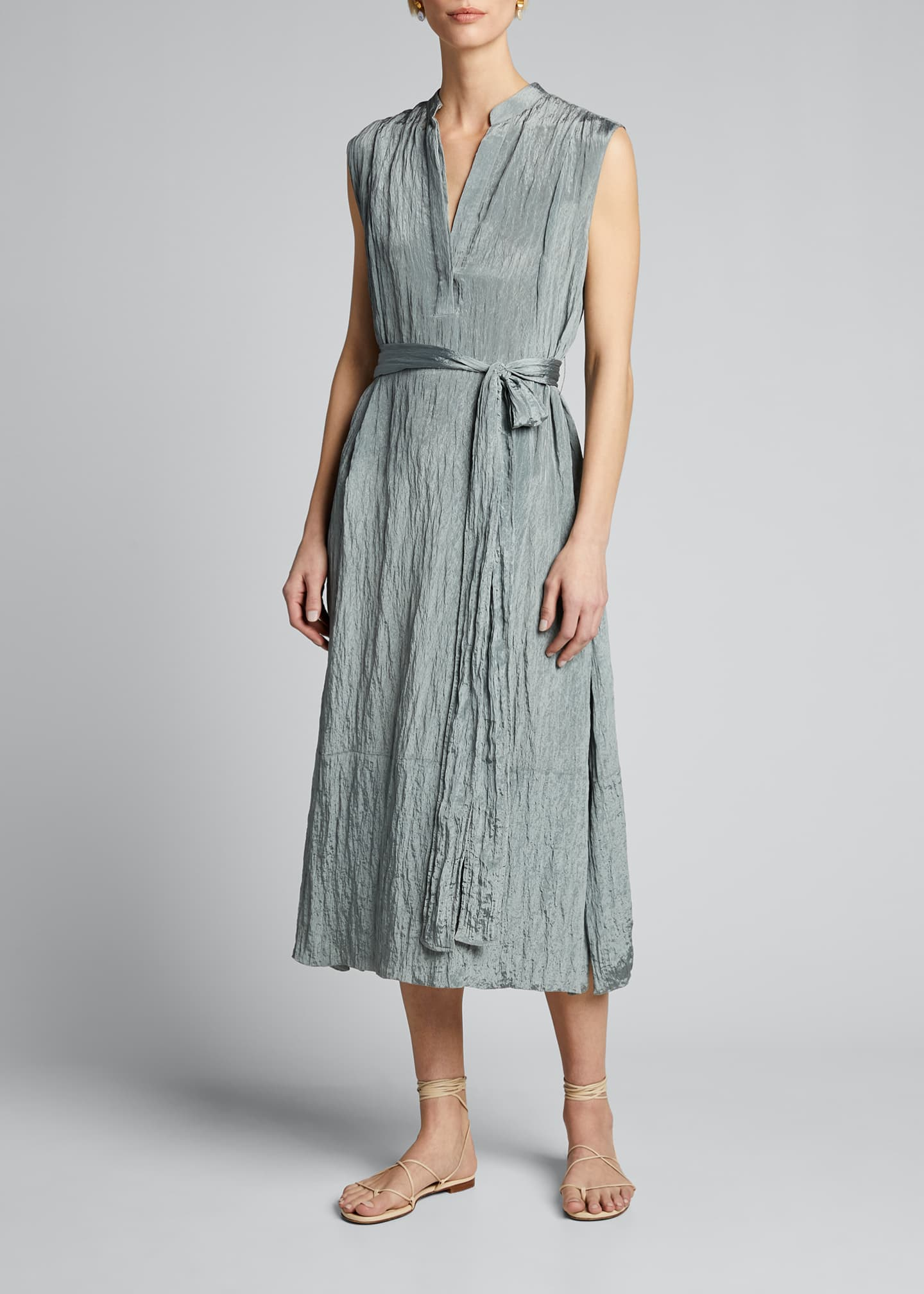 Image 3 of 4: Sleeveless Textured Popover Dress