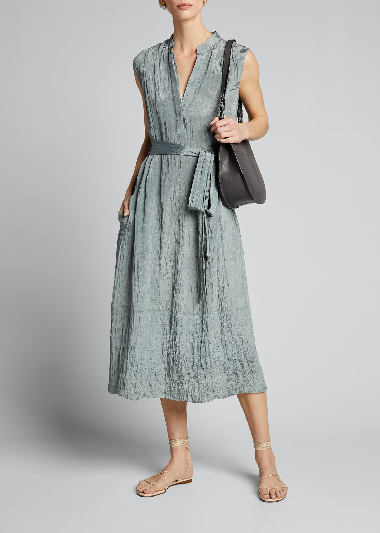 Image 1 of 4: Sleeveless Textured Popover Dress