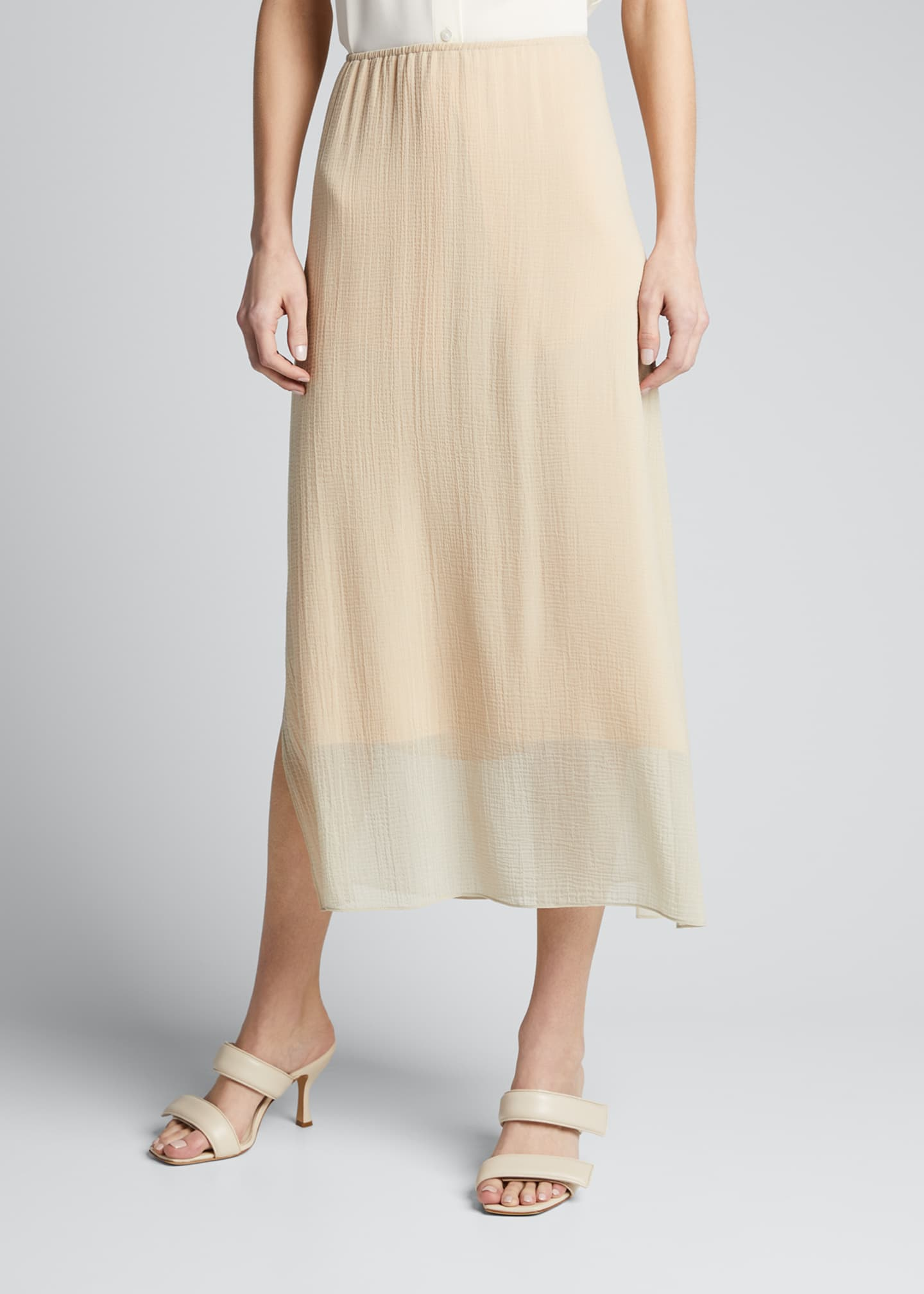 Image 3 of 5: Textured Double-Layer Midi Skirt