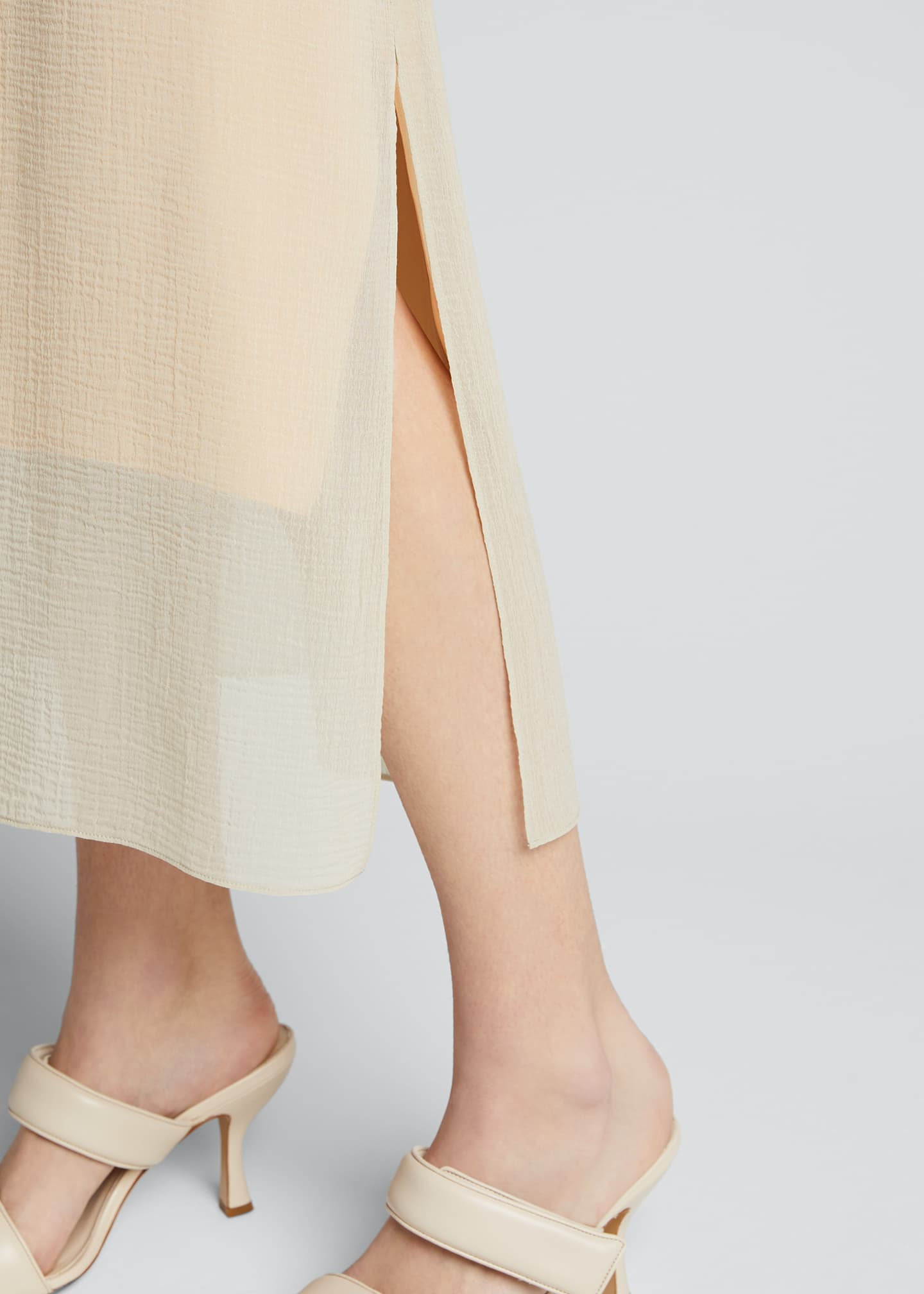 Image 4 of 5: Textured Double-Layer Midi Skirt