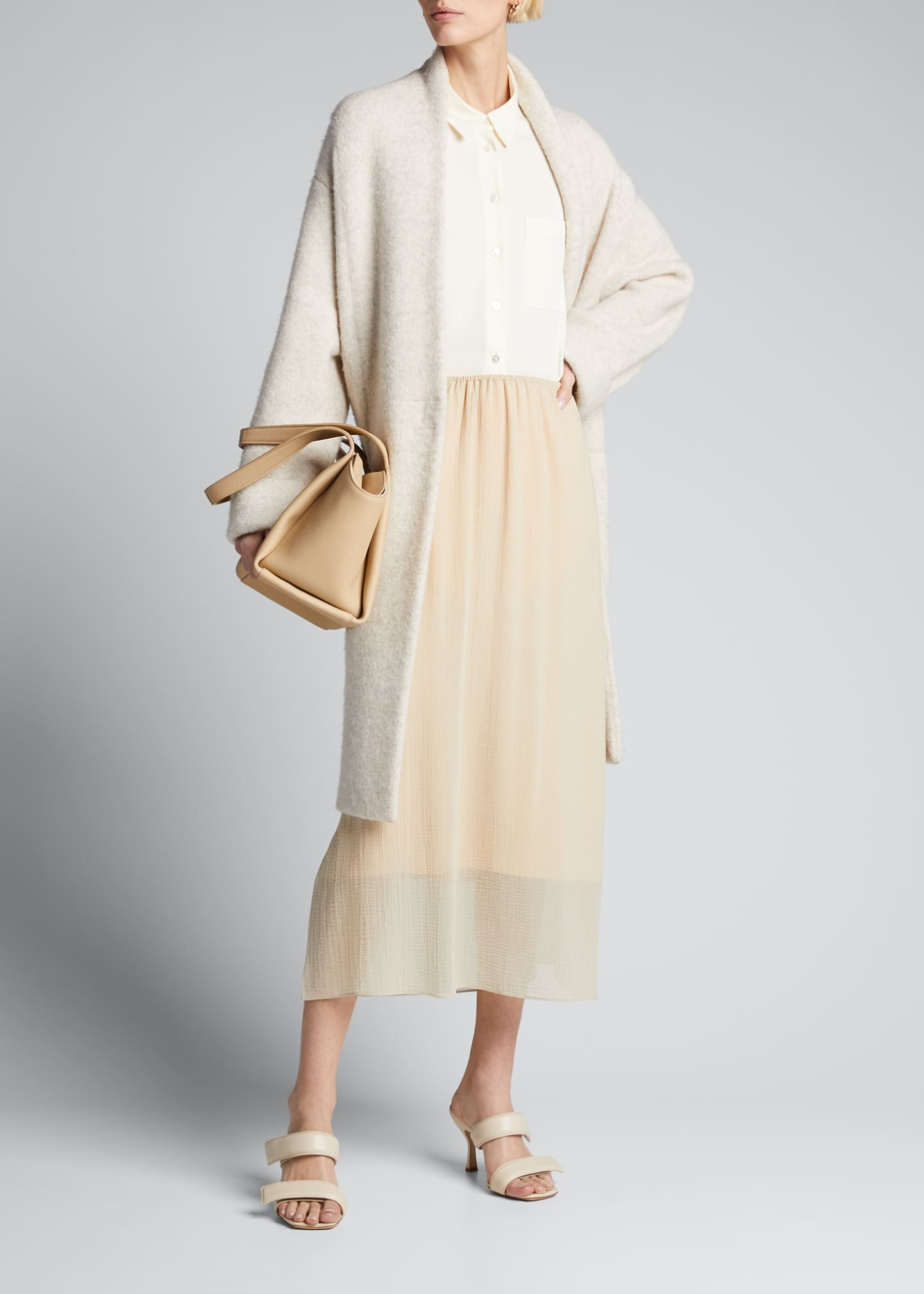 Image 1 of 5: Textured Double-Layer Midi Skirt