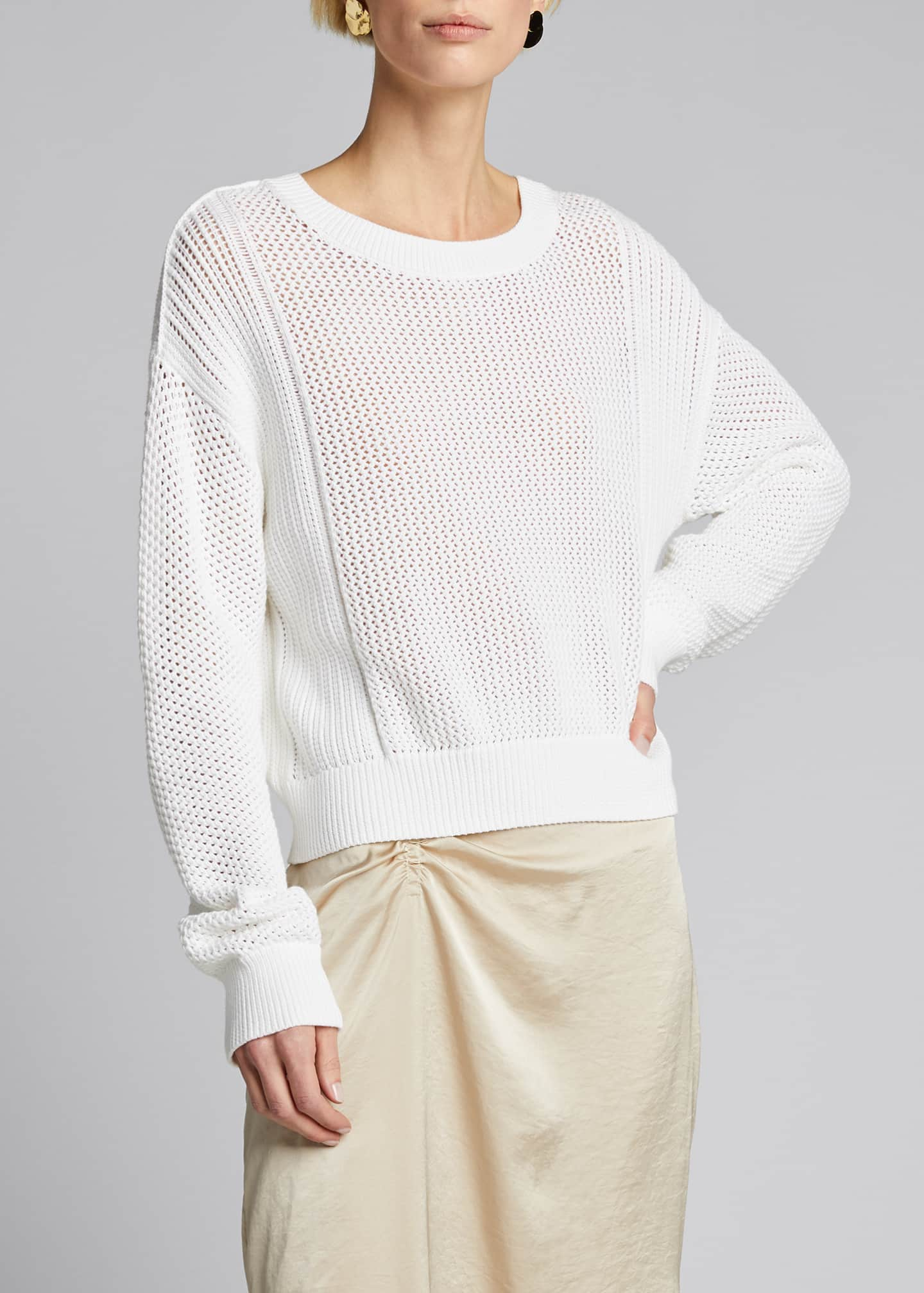 Image 3 of 5: Mixed Mesh Stitch Pullover
