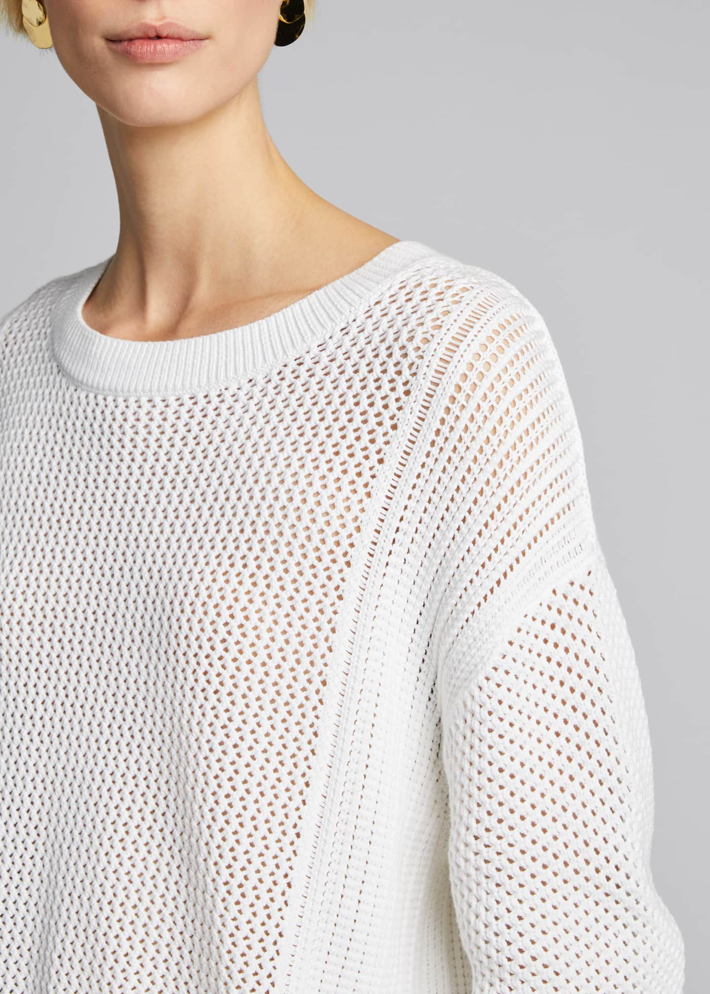 Image 4 of 5: Mixed Mesh Stitch Pullover