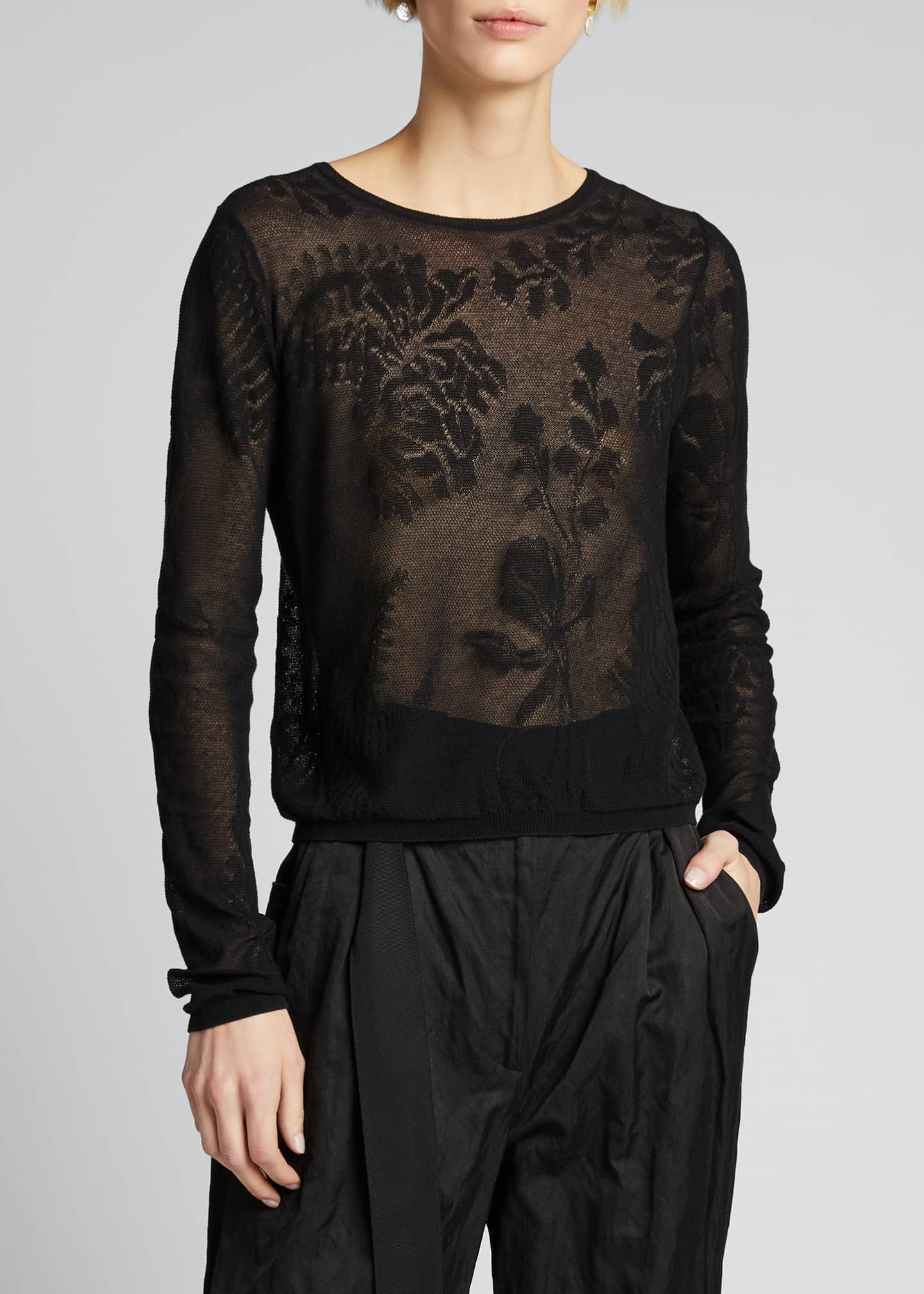 Image 3 of 5: Floral Lace Stitch Pullover