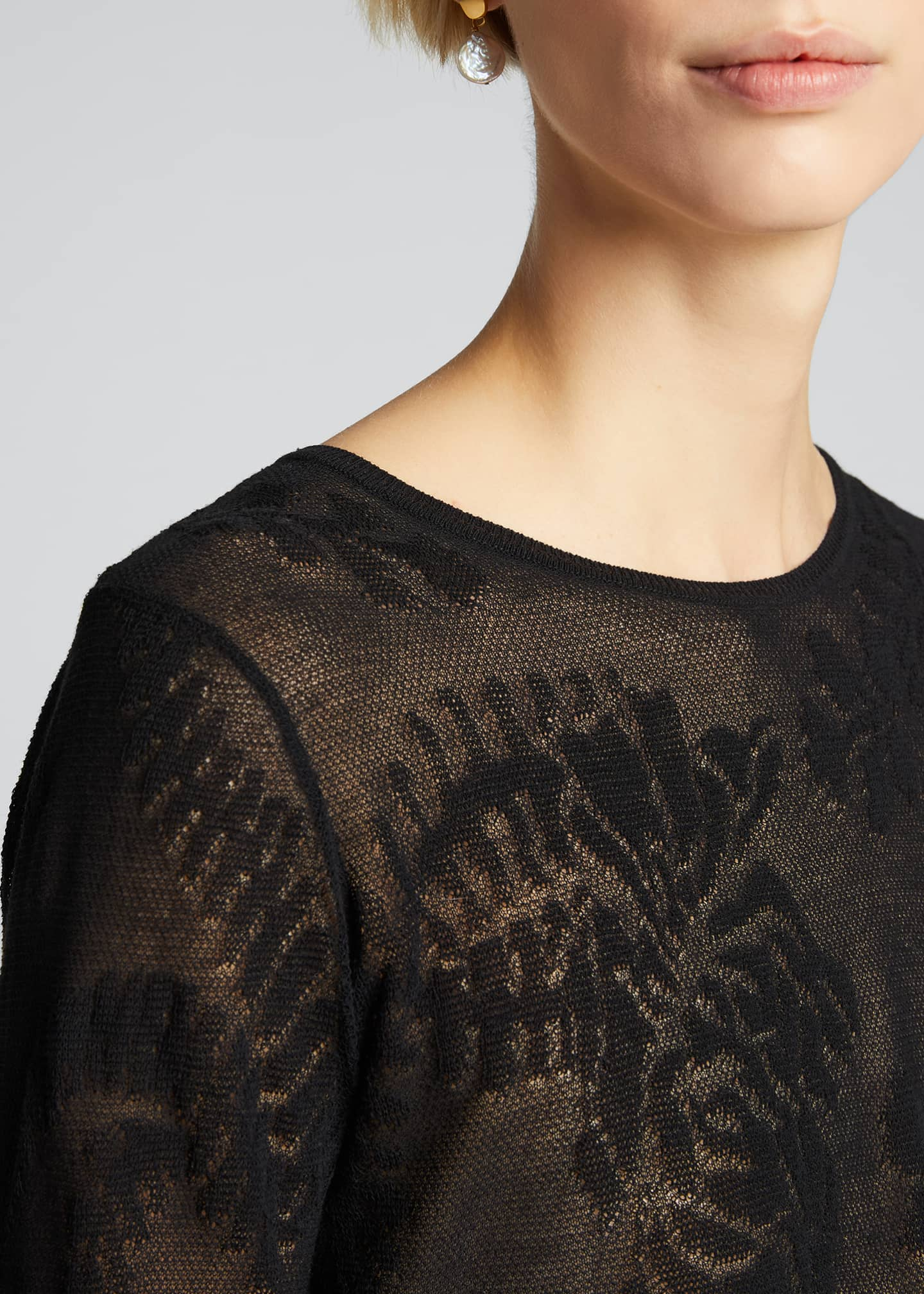 Image 4 of 5: Floral Lace Stitch Pullover