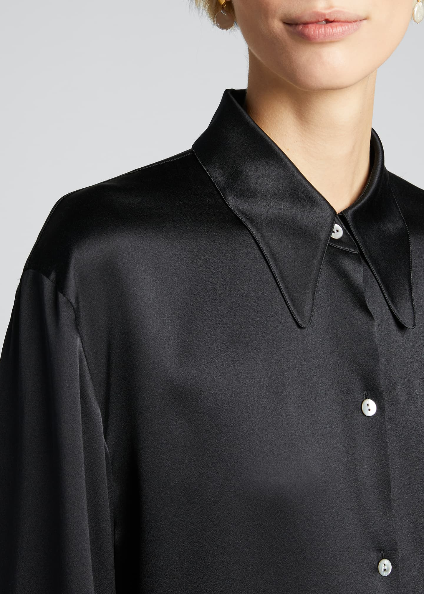 Image 4 of 5: Shaped Collar Satin Button-Down Blouse