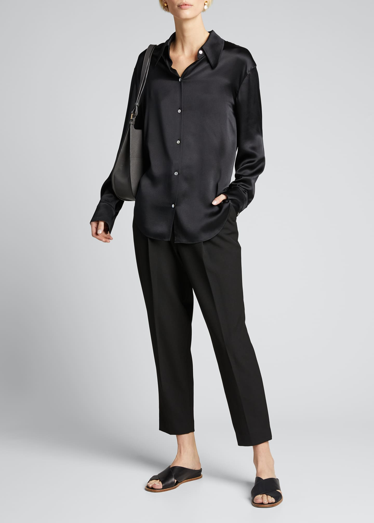 Image 1 of 5: Shaped Collar Satin Button-Down Blouse